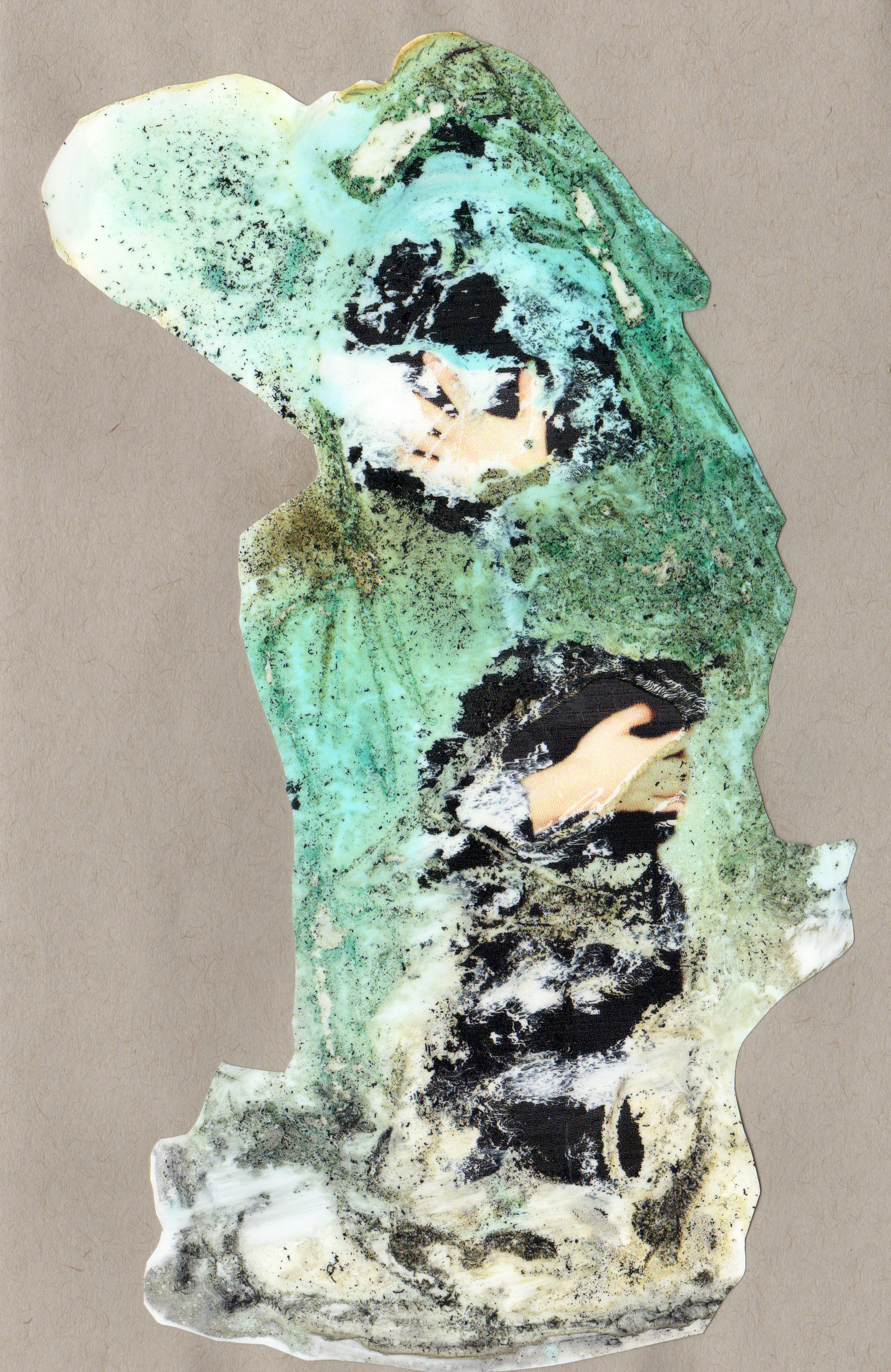 Reach Around, 2014, paint transparency archival ink and paper, 8.5x5.5 inches