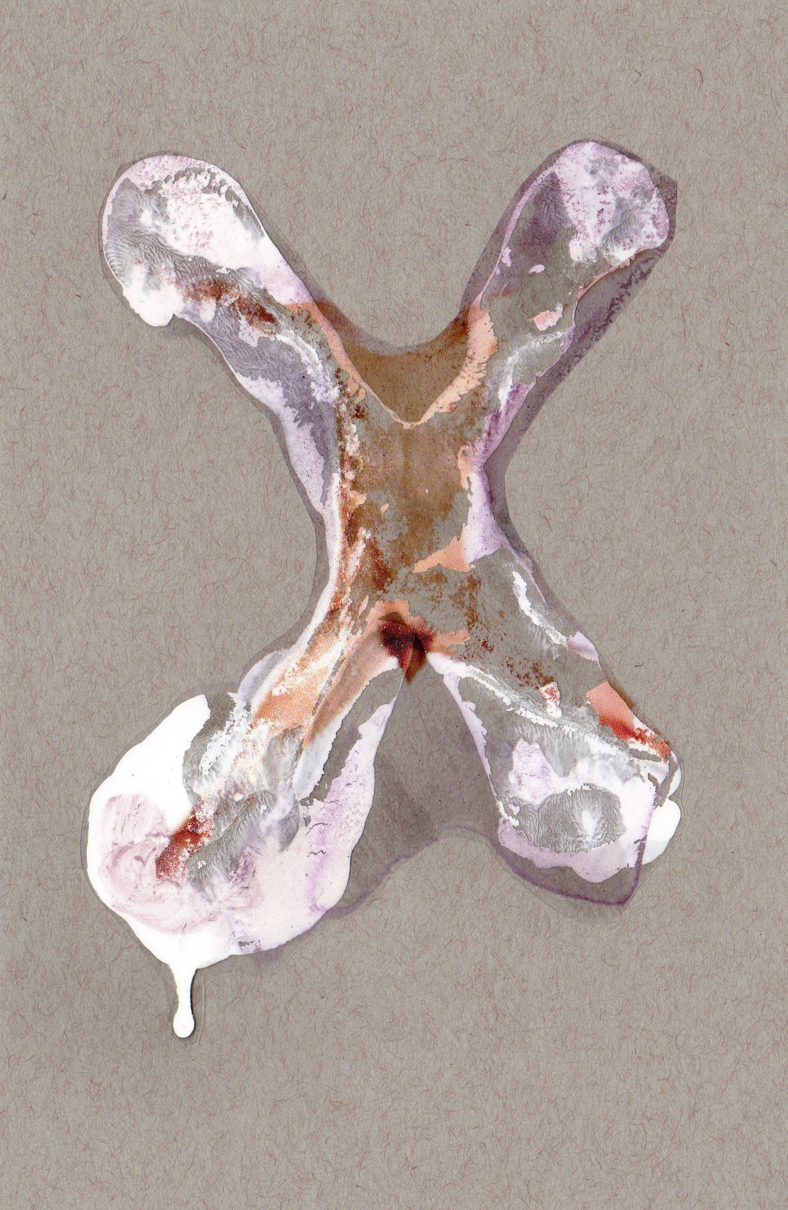 X, 2014, paint transparency archival ink and paper, 8.5x5.5 inches