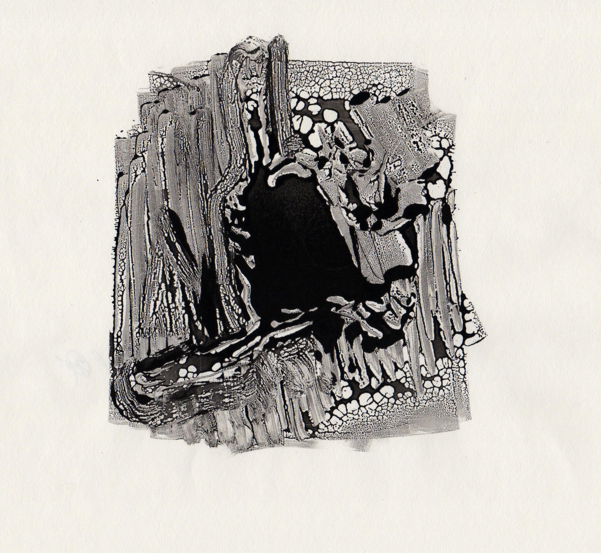 Bell, 2014, gelatin monotype, 10x9 inches