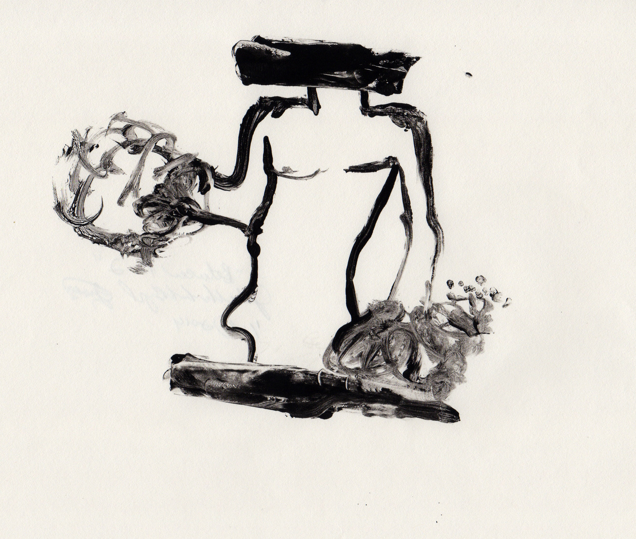 Between the Two, 2014, gelatin monotype, 10x9 inches