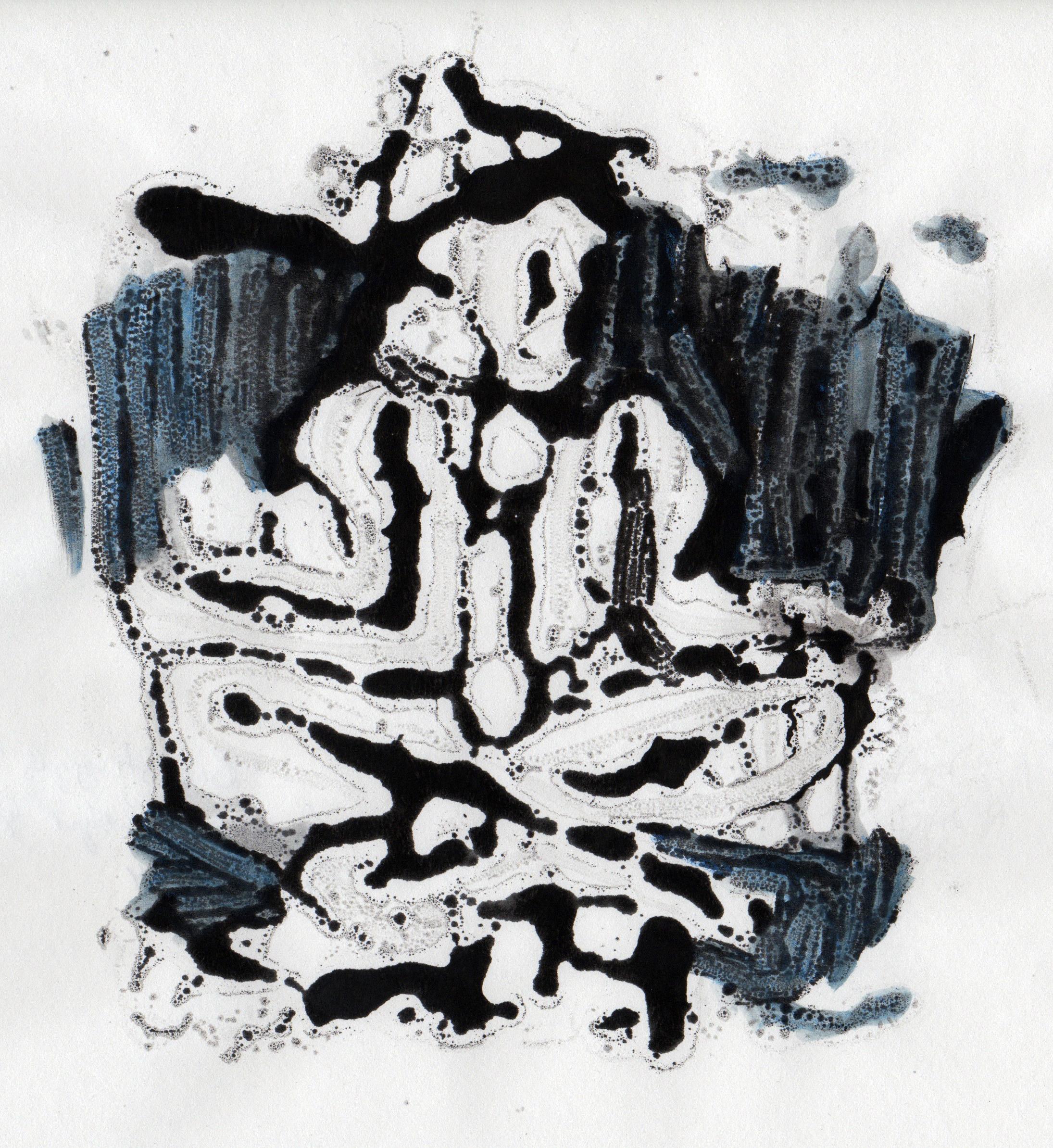 Big Struggle, 2014, hand colored gelatin monotype, 10x9 inches