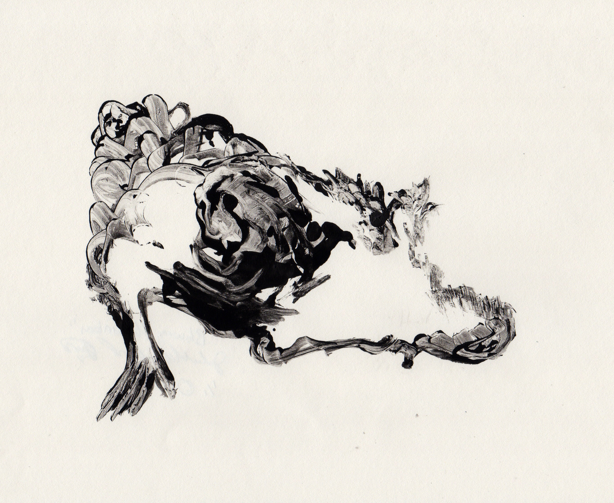 Blowing The Embers, 2014, gelatin monotype, 10x9 inches