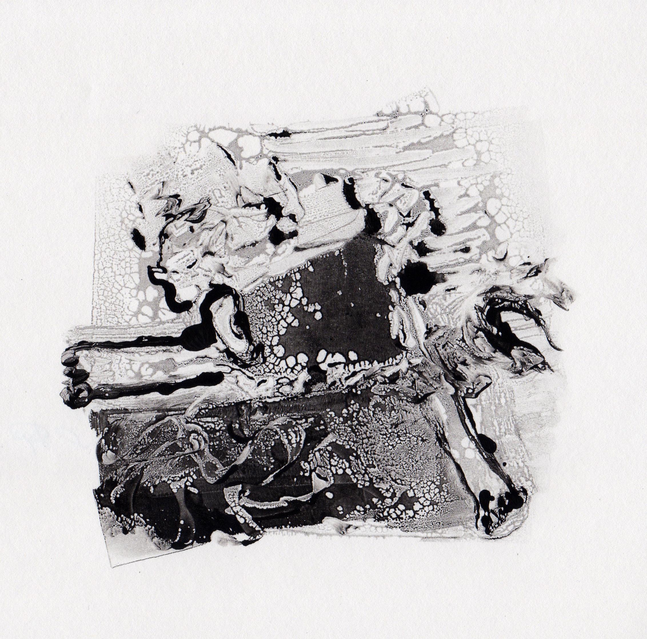 Cosmic Wind, 2014, gelatin monotype, 10x9 inches