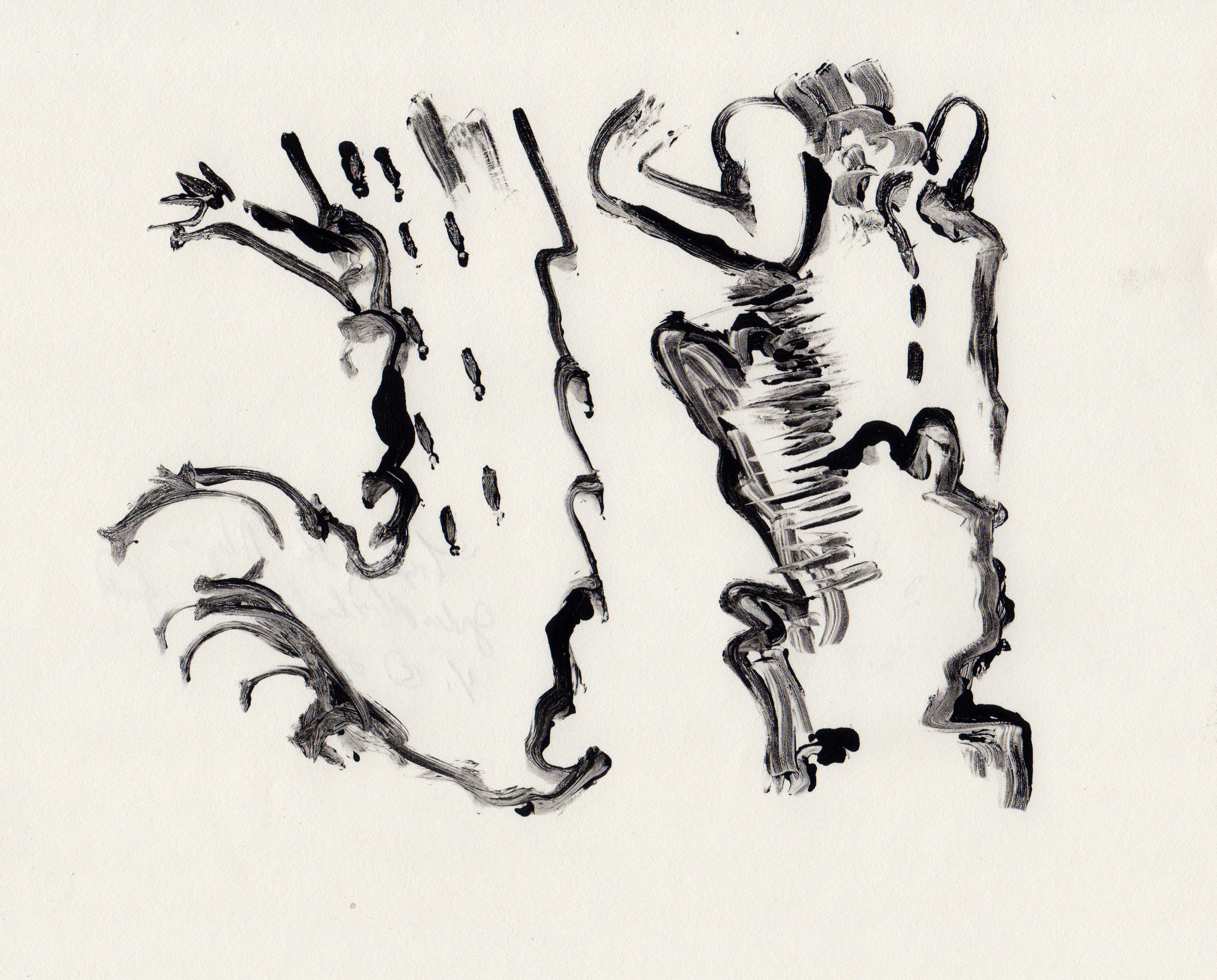 Fighting the Abyss, 2014, gelatin monotype, 10x9 inches