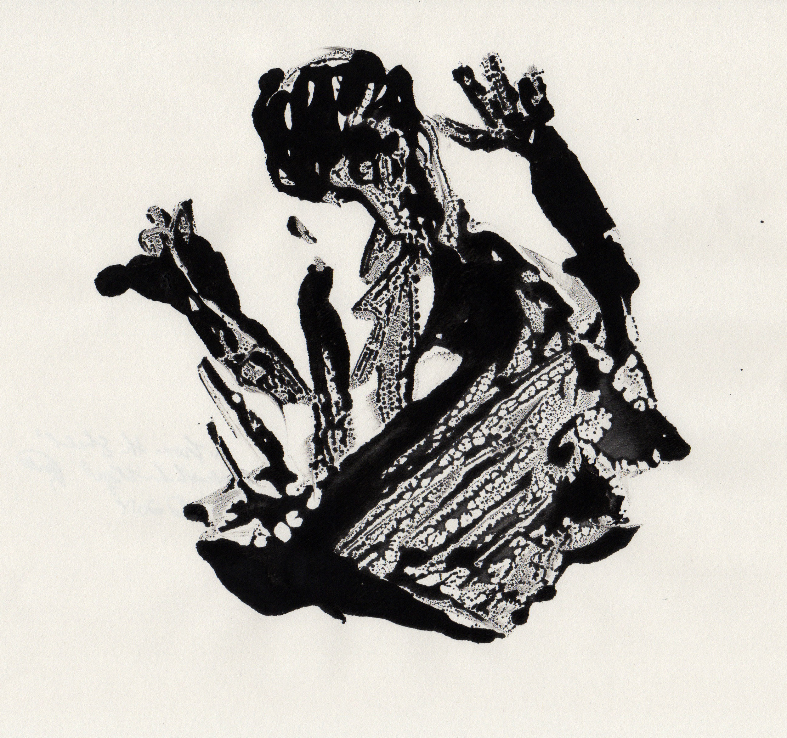 From The Shell, 2014, gelatin monotype, 10x9 inches