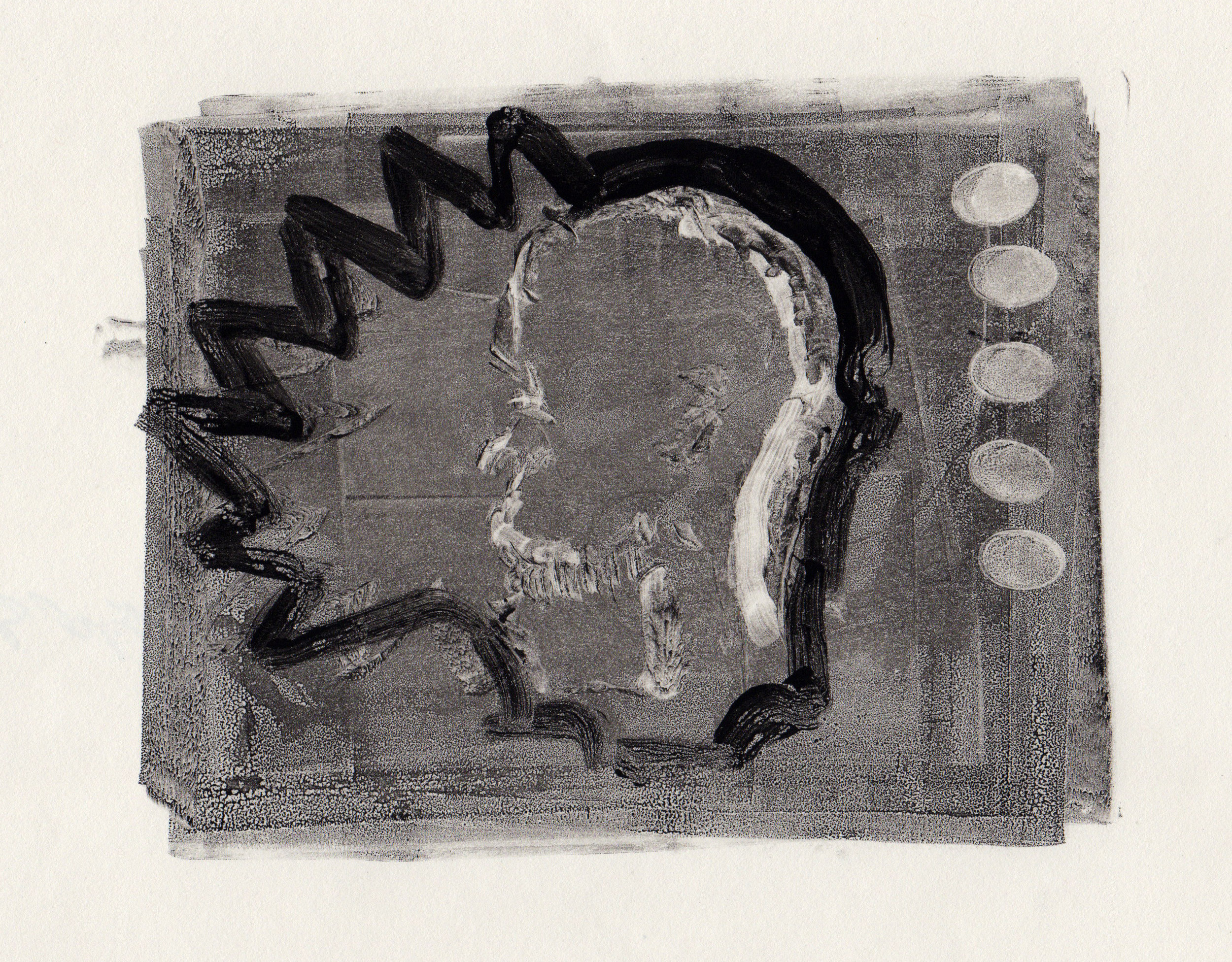 Gleam, 2014, gelatin monotype, 10x9 inches