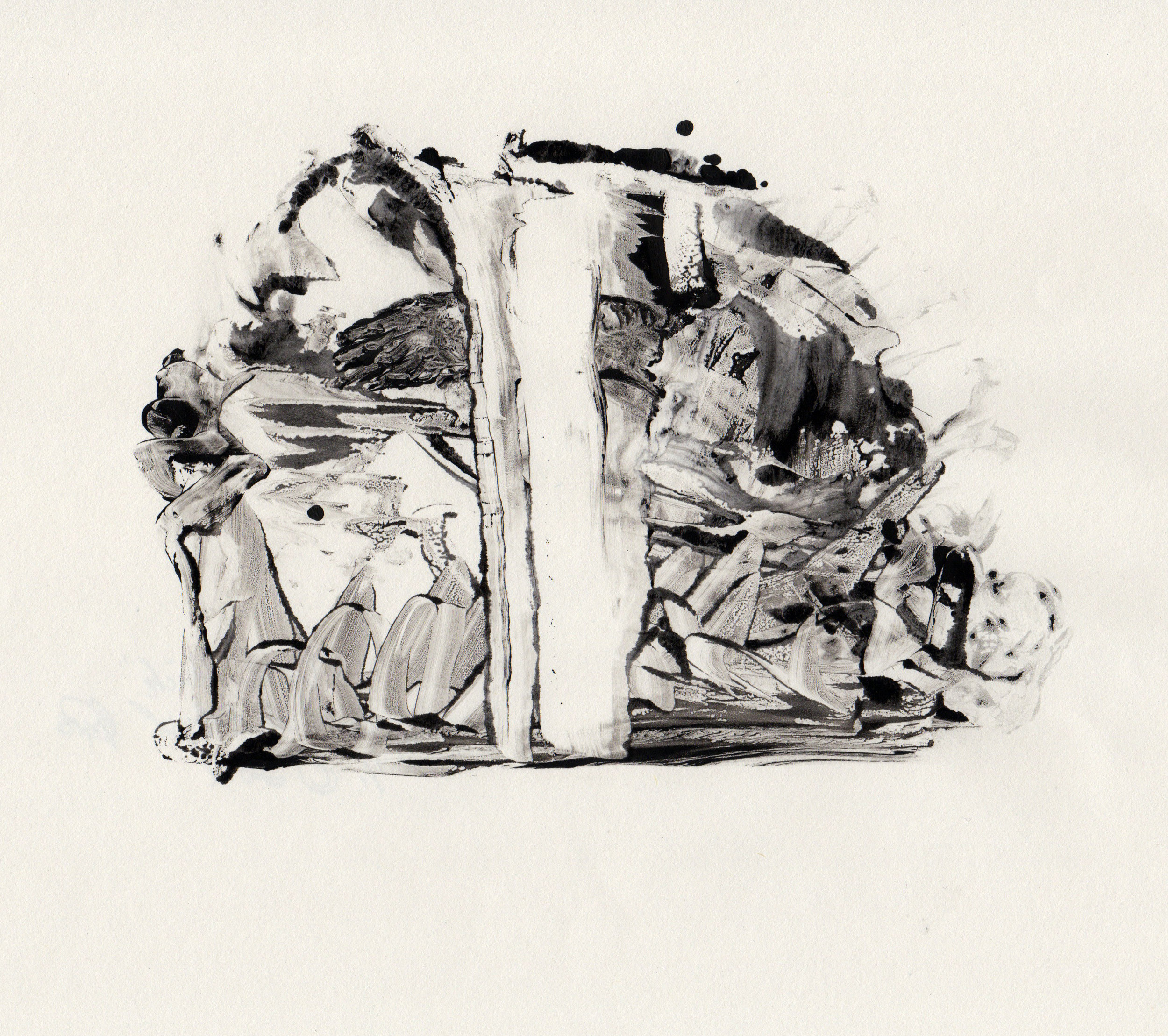 In The Thick, 2014, gelatin monotype, 10x9 inches