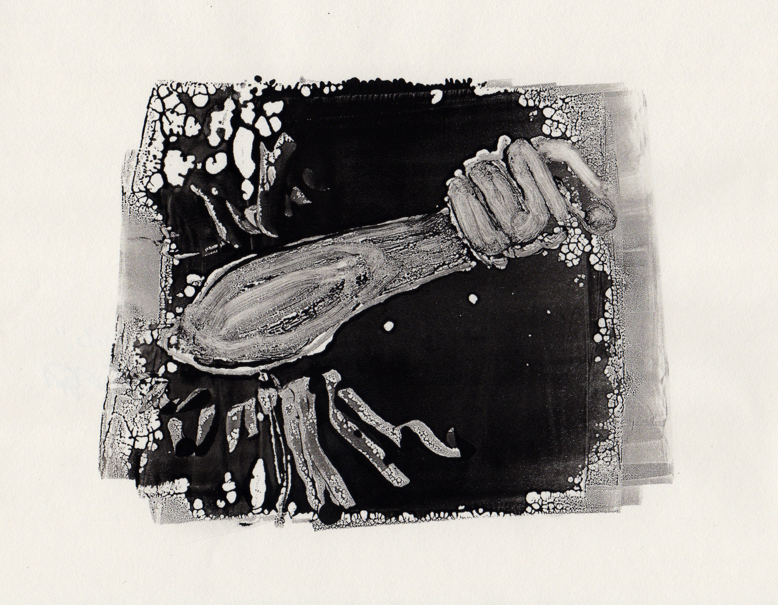 Punching the Wind, 2014, gelatin monotype, 10x9 inches