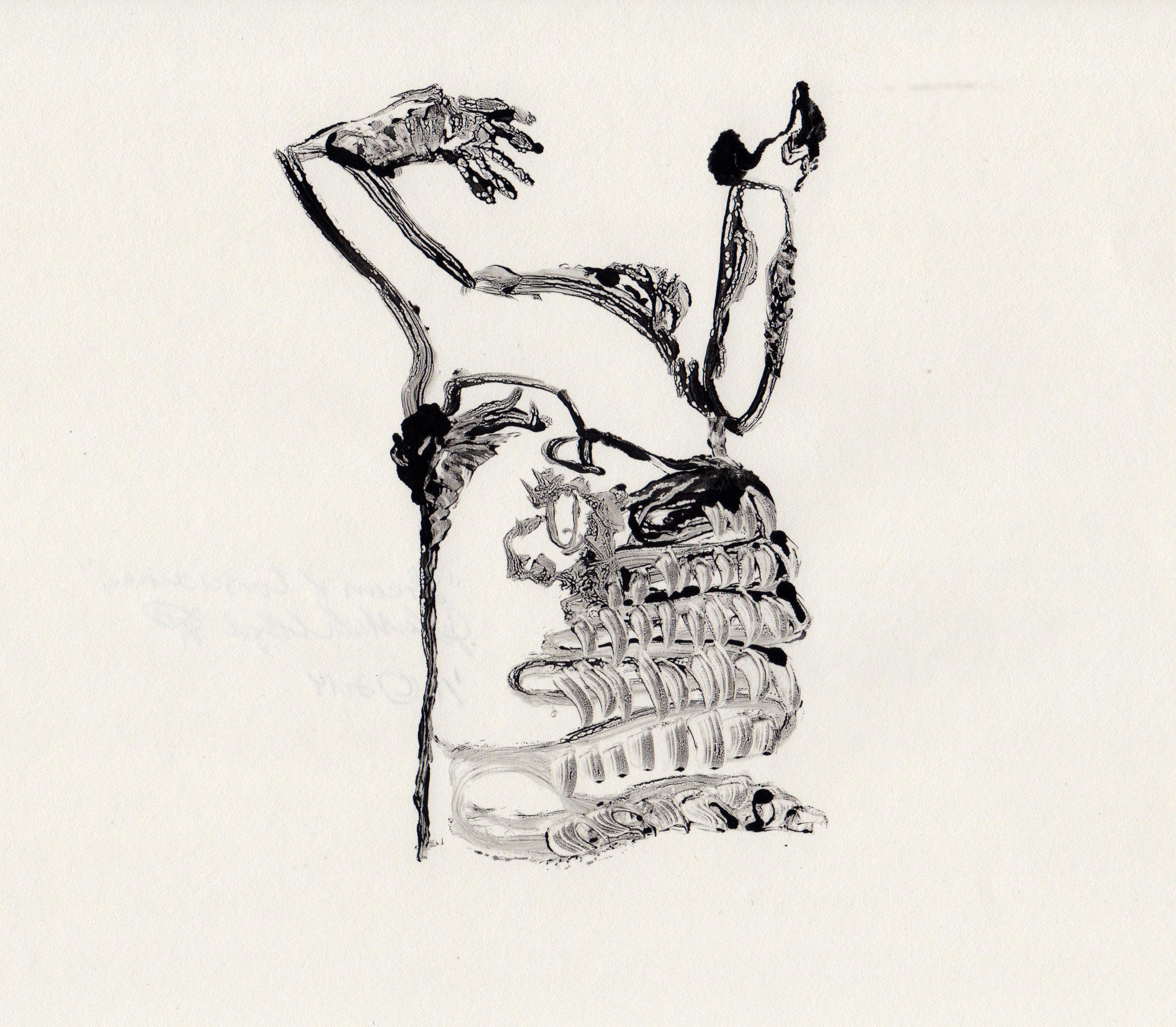 Stream of Consciousness, 2014, gelatin monotype, 10x9 inches