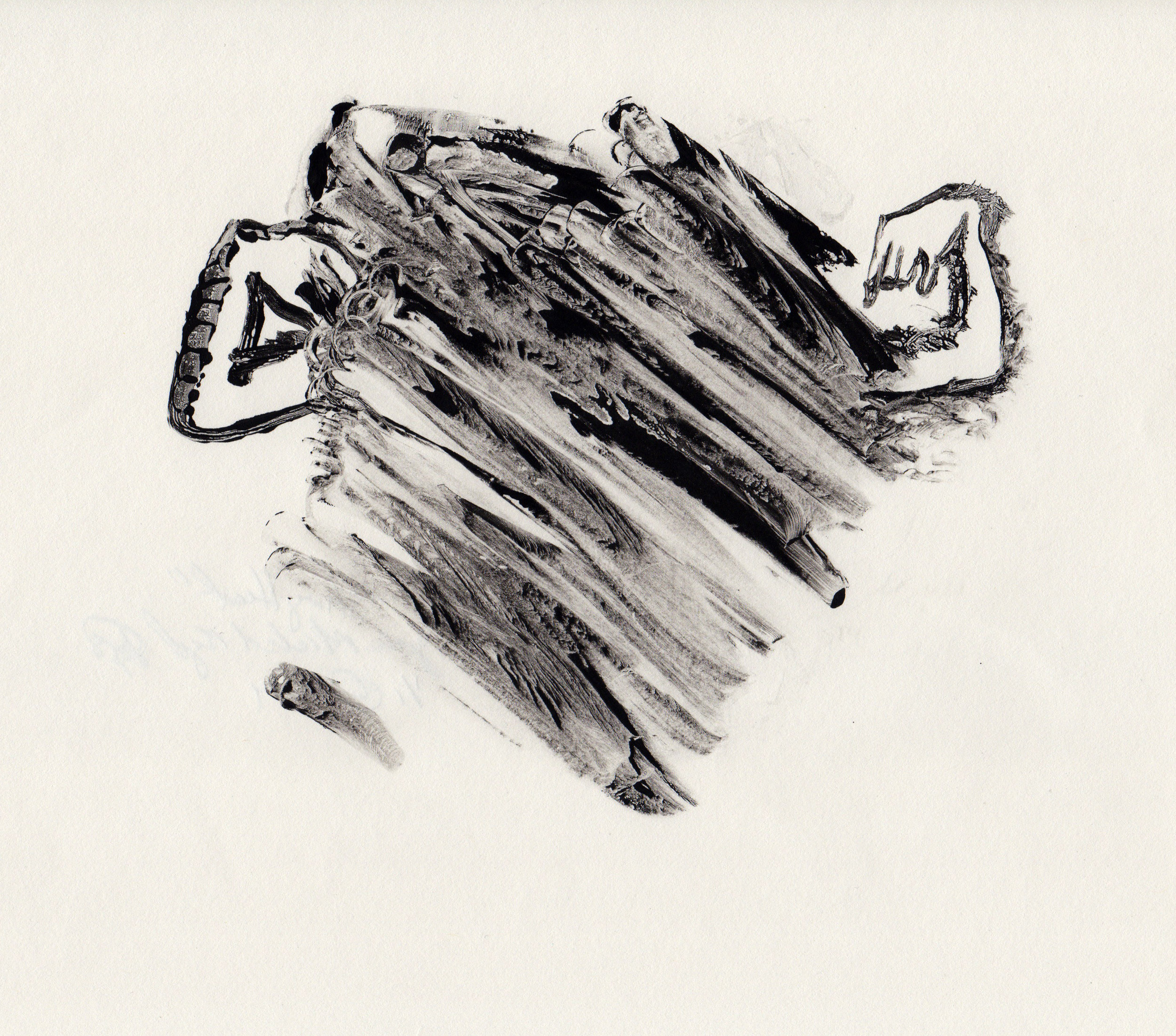 Strong Heart, 2014, gelatin monotype, 10x9 inches