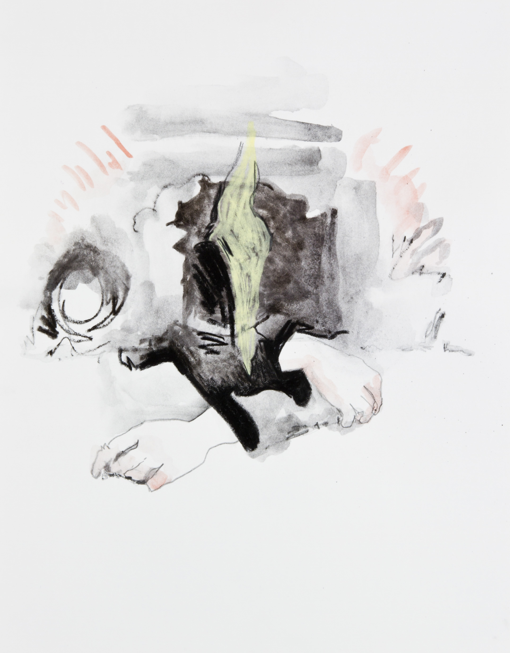 A Inner Action, 2013, graphite, crayon and watercolor pencil on paper, 11x14 inches