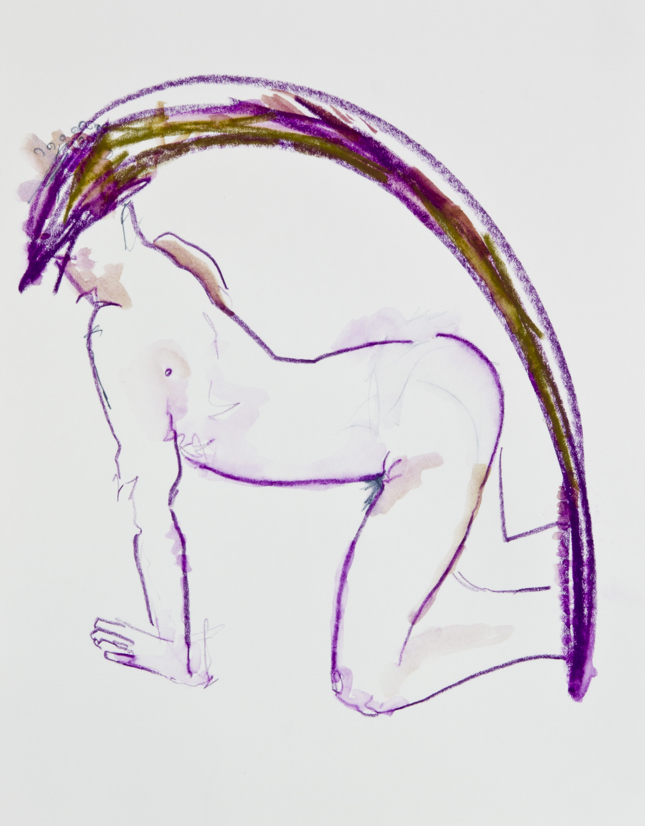 Bending Backwards 2013, graphite, crayon and watercolor pencil on paper, 11x14 inches