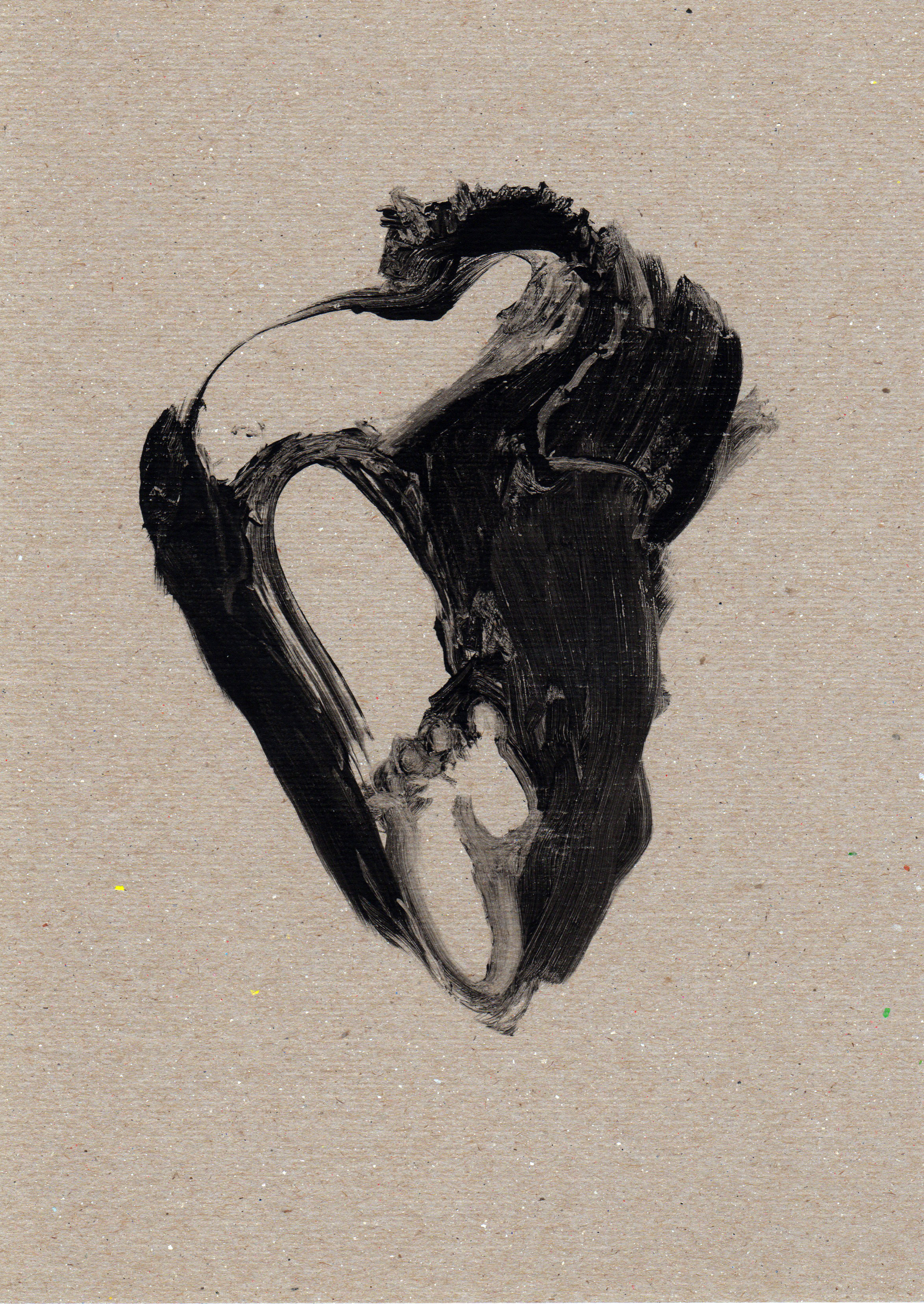 Untitled Wind Thigh, 2014, gelatin monotype, 11x8 inches