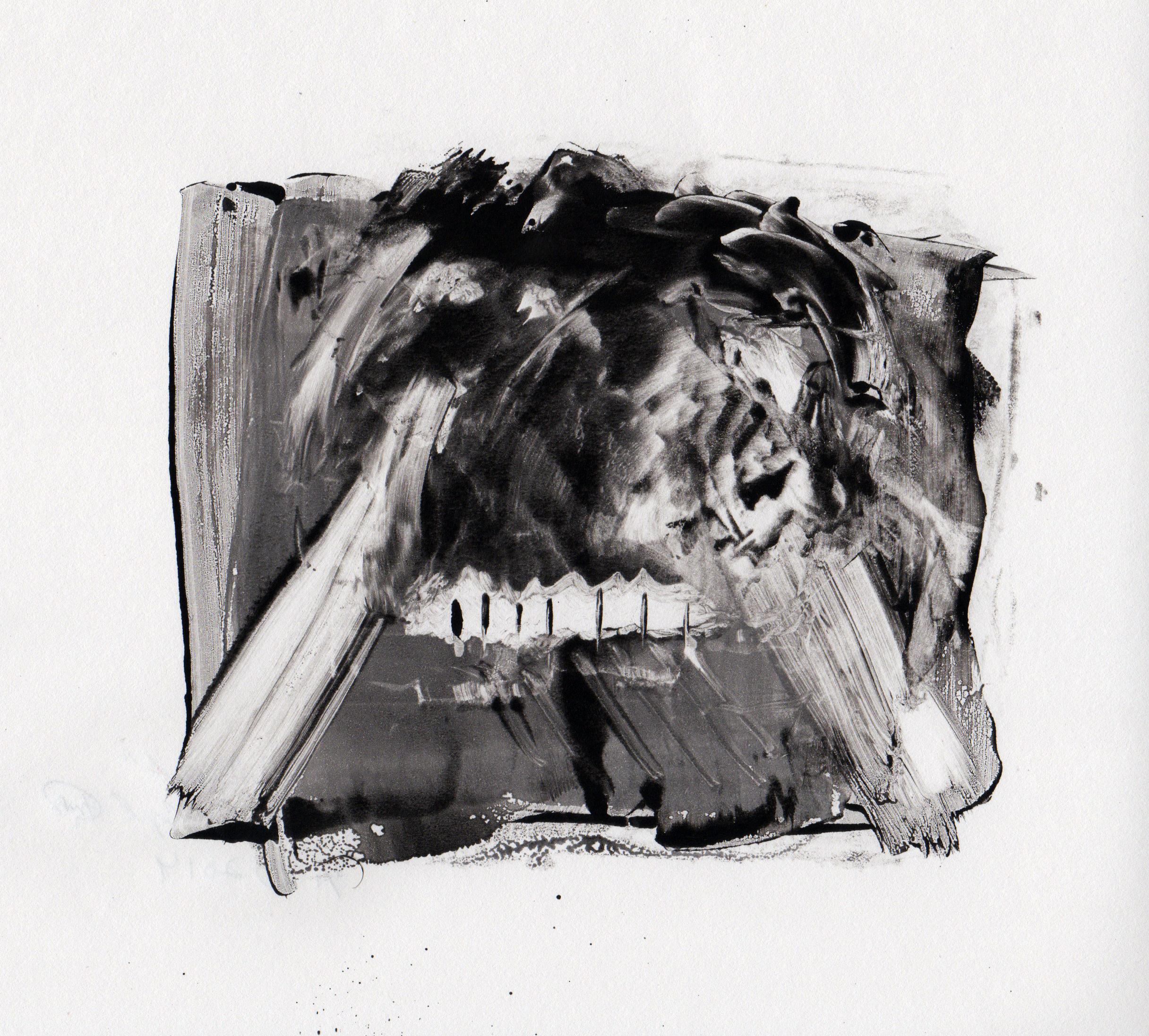 Wild Beast, 2014, gelatin monotype, 10x9 inches