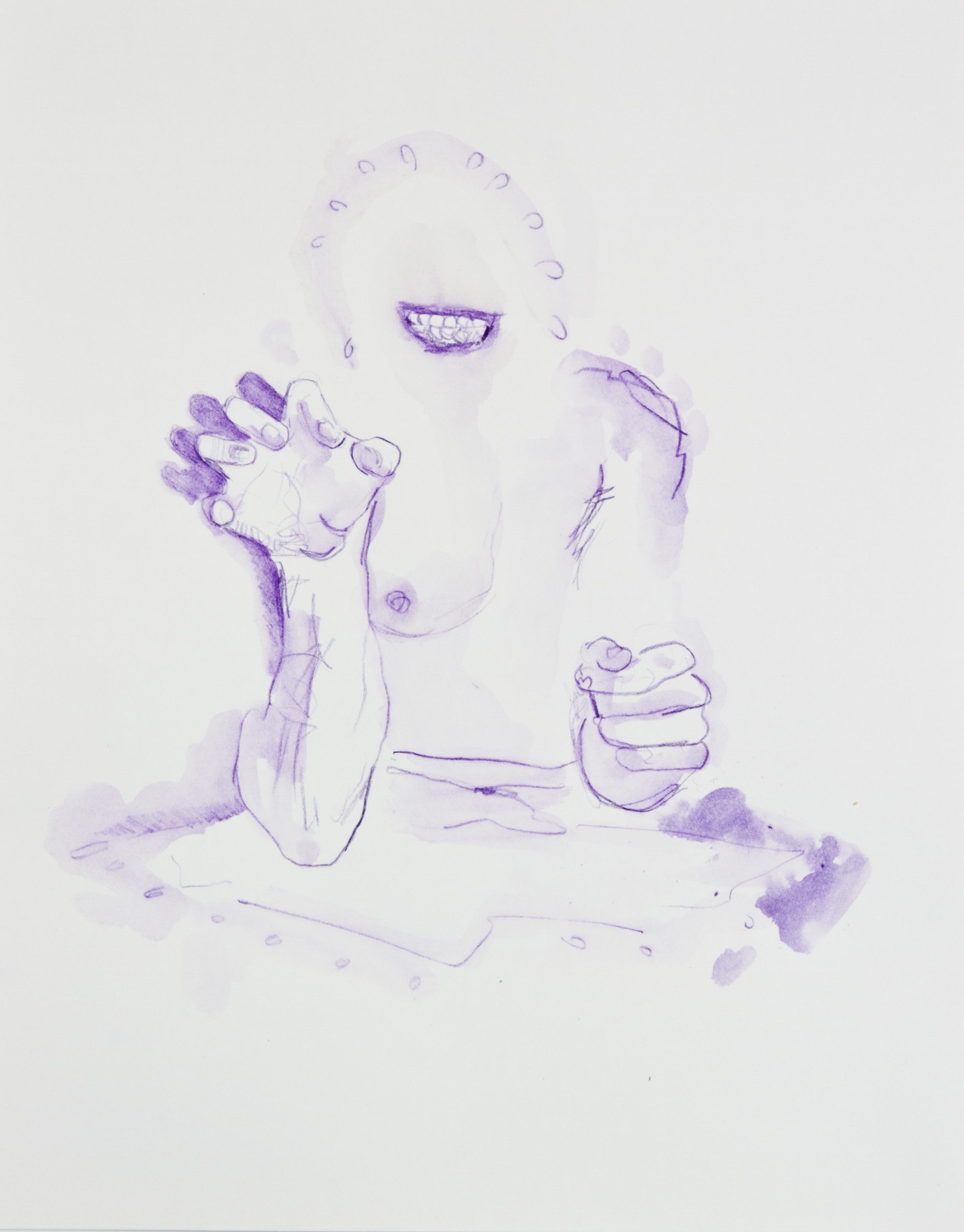 Purple Snarl Thingy, 2013, graphite, crayon and watercolor pencil on paper, 11x14 inches