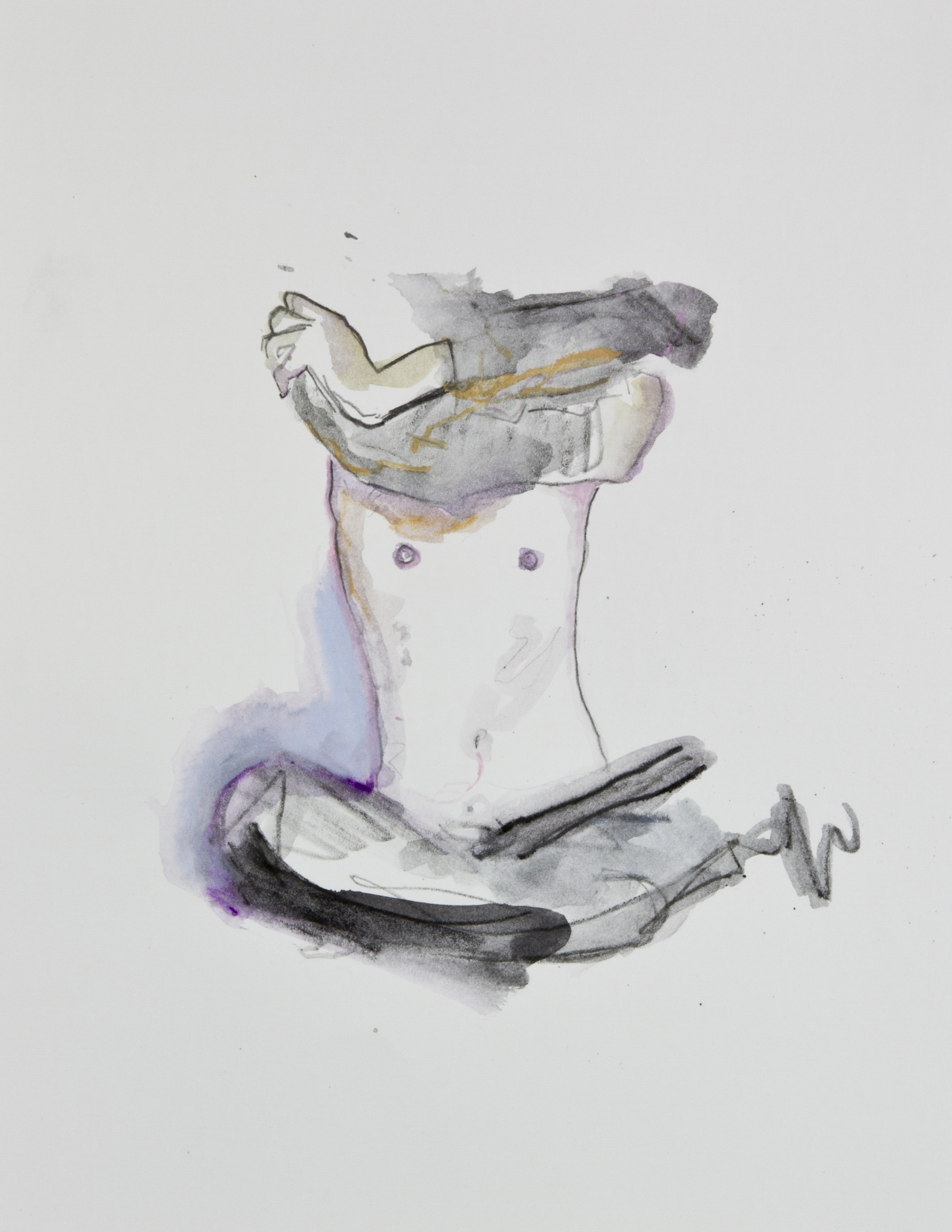 Stripping Them into Nothing, 2013, graphite, crayon and watercolor pencil on paper, 11x14 inches