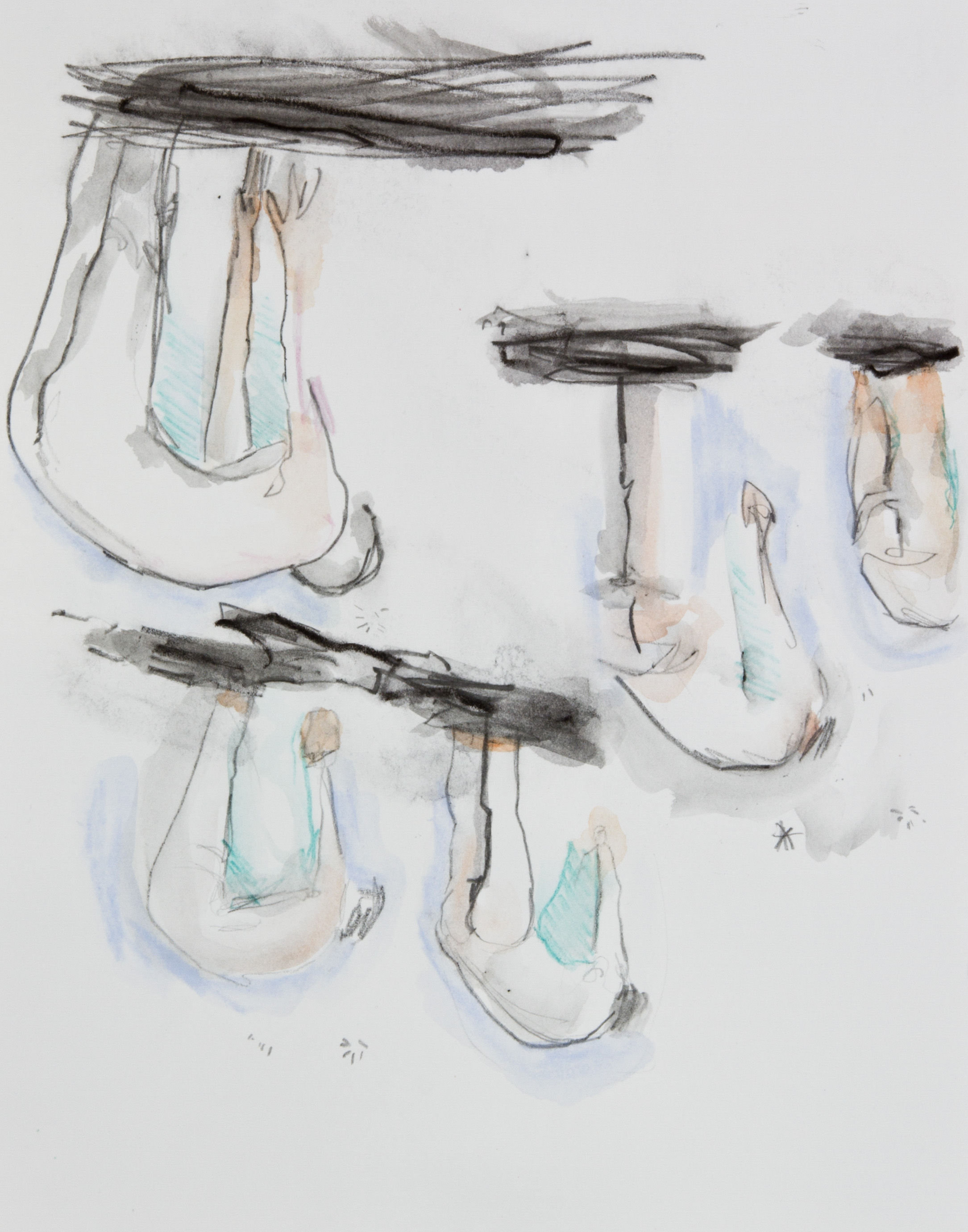 They Fell From Above, 2013, graphite, crayon and watercolor pencil on paper, 11x14 inches