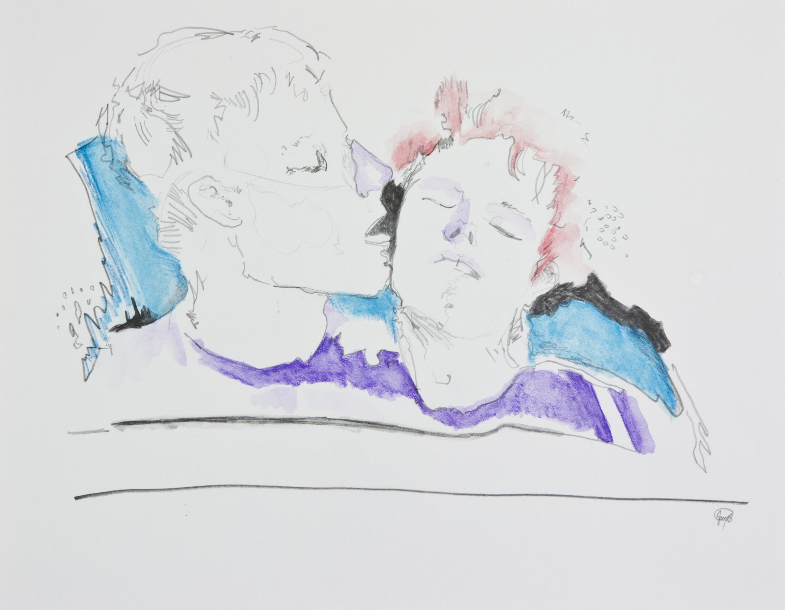 Uncomfortable Kisses, 2013, graphite, crayon and watercolor pencil on paper, 11x14 inches