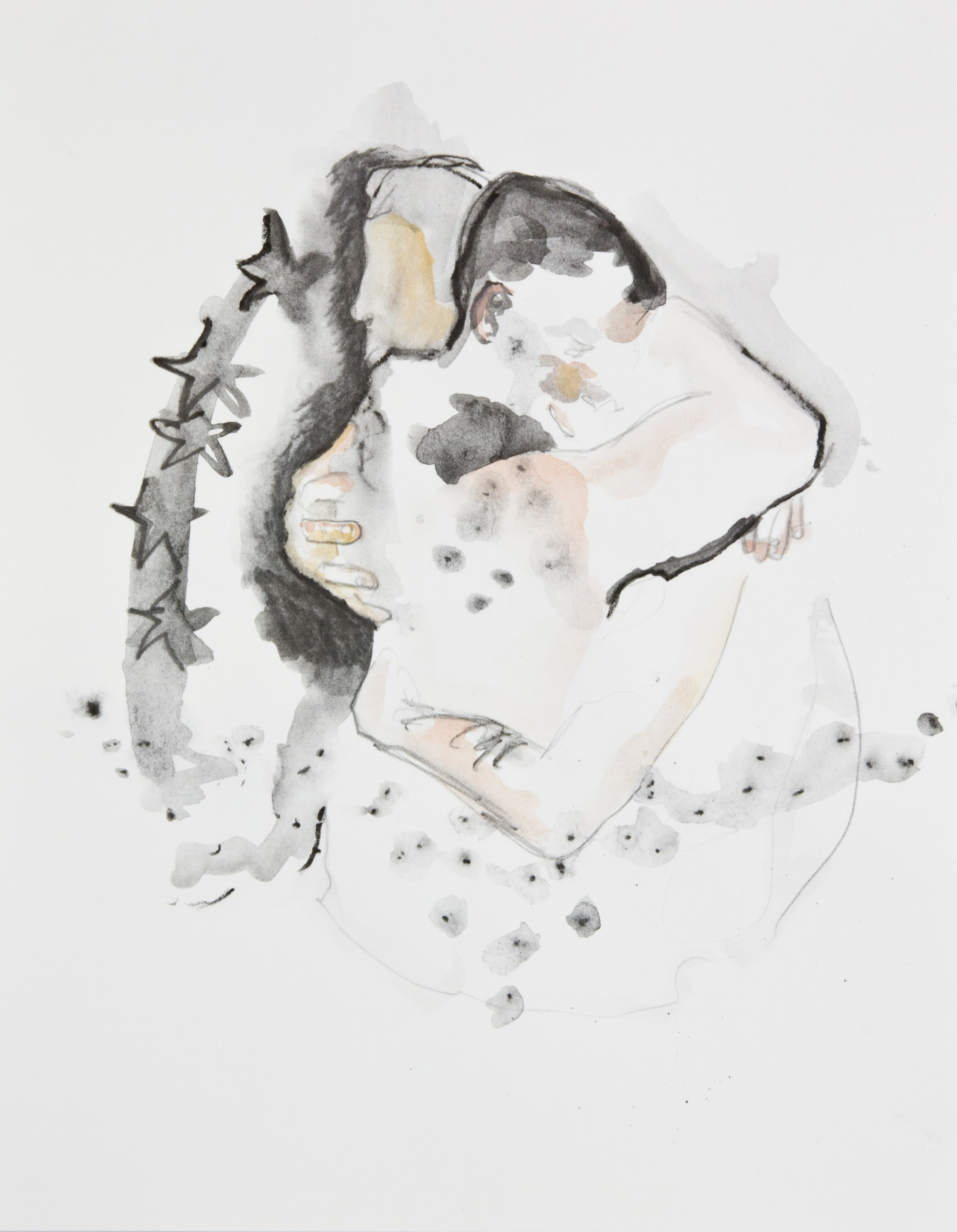 When Stars Collide, 2013, graphite, crayon and watercolor pencil on paper, 11x14 inches