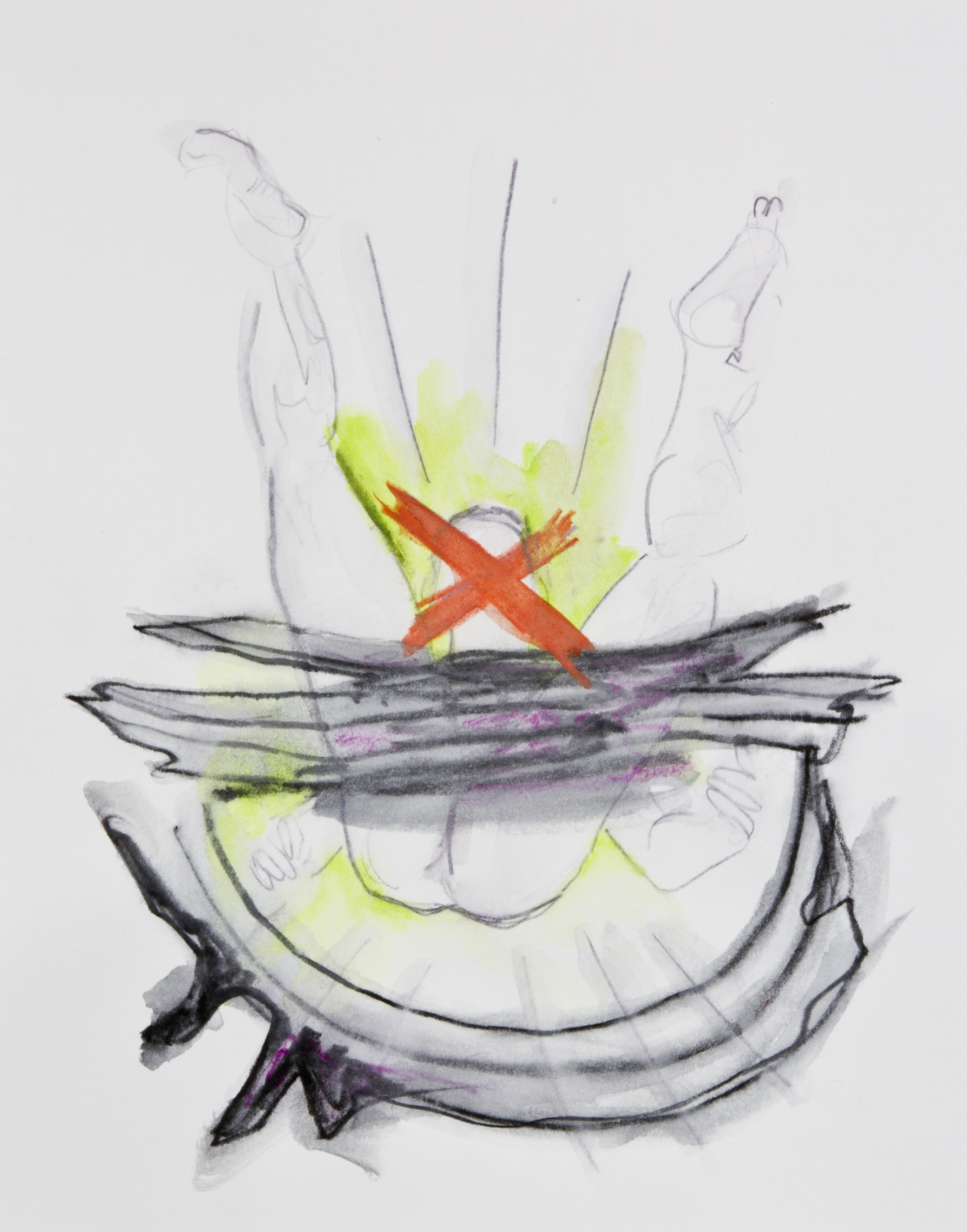 X Display, 2013, graphite, crayon and watercolor pencil on paper, 11x14 inches