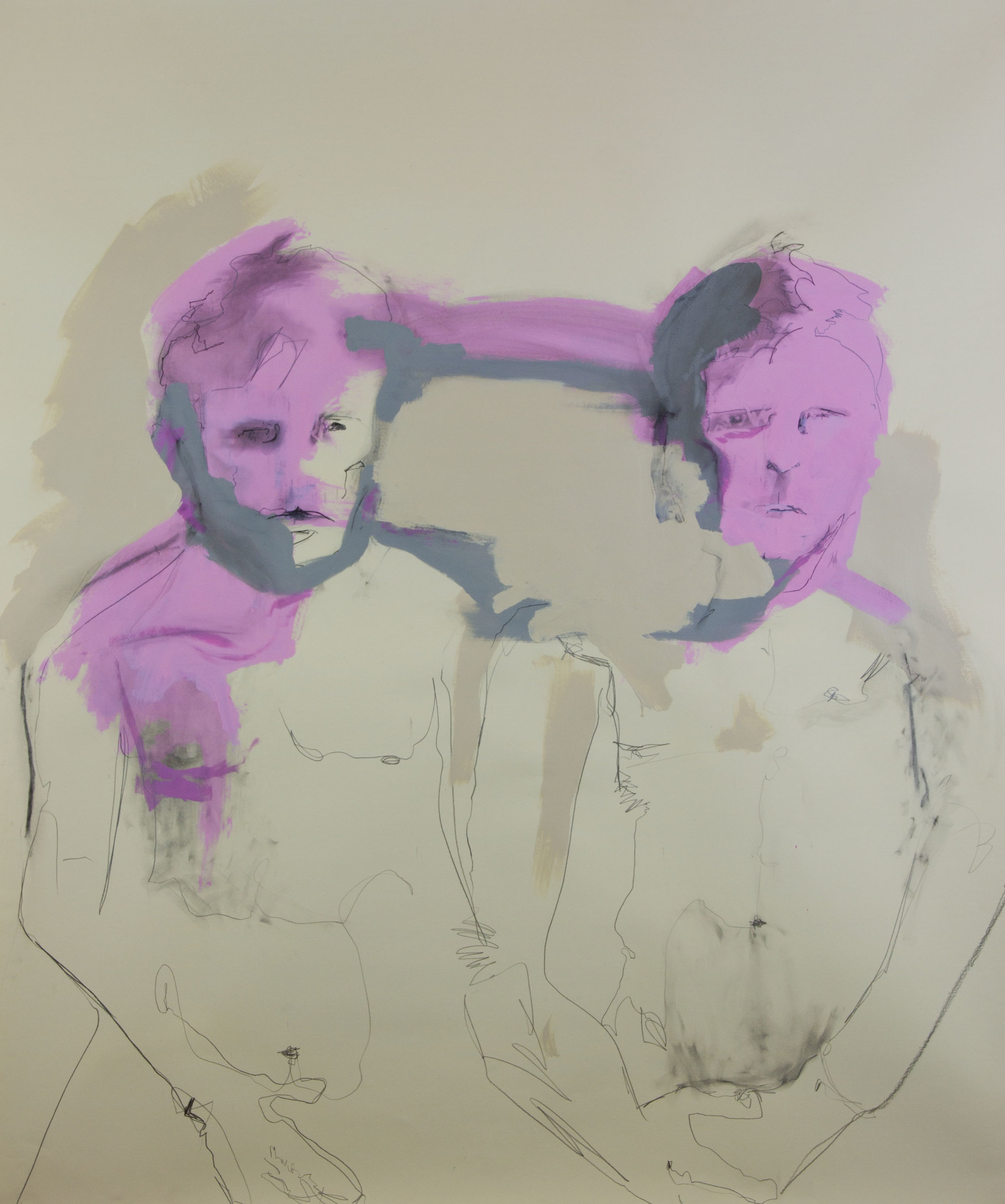 You Are On My Mind And You Know I Am Right, 2012, acrylic, graphite and charcoal on paper, 36x50 inches