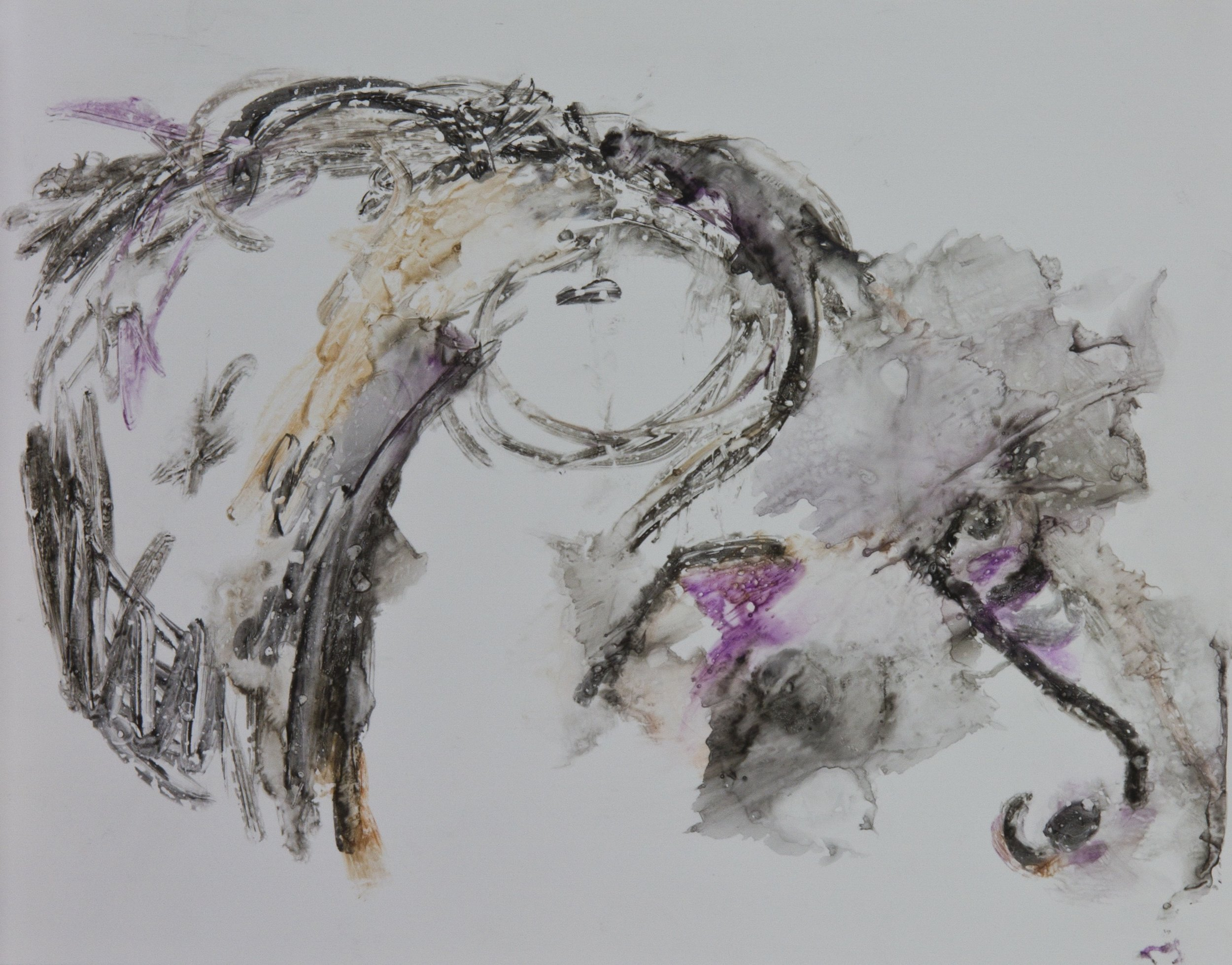 Acts 13, 2010, watercolor monotype on polypropylene, 11x14 inches