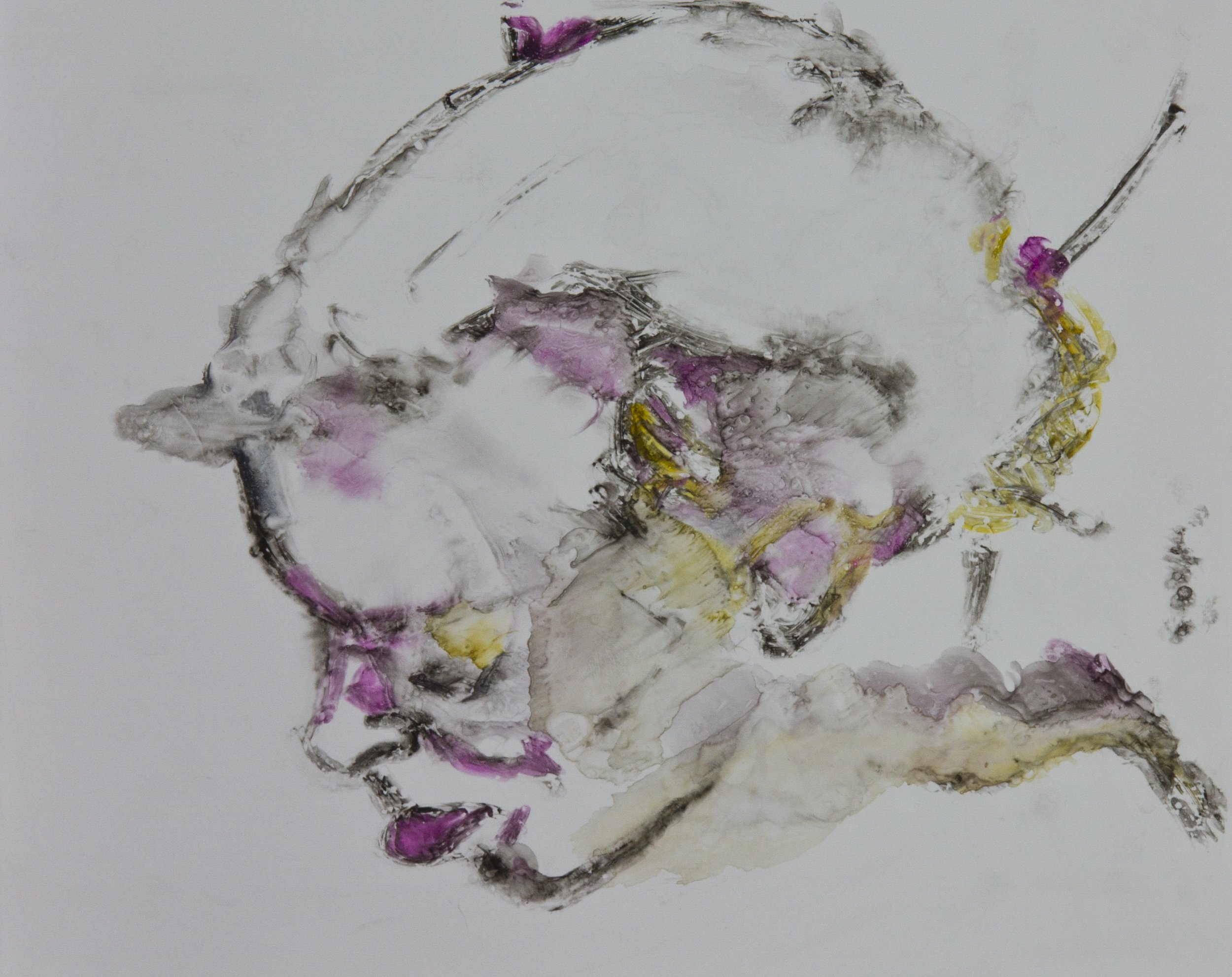 Acts 18, 2010, watercolor monotype on polypropylene, 11x14 inches