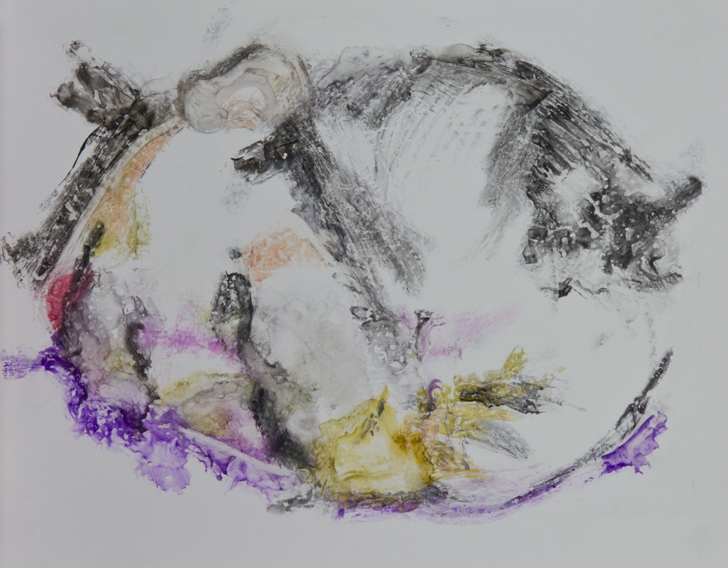 Acts 25, 2010, watercolor monotype on polypropylene, 11x14 inches