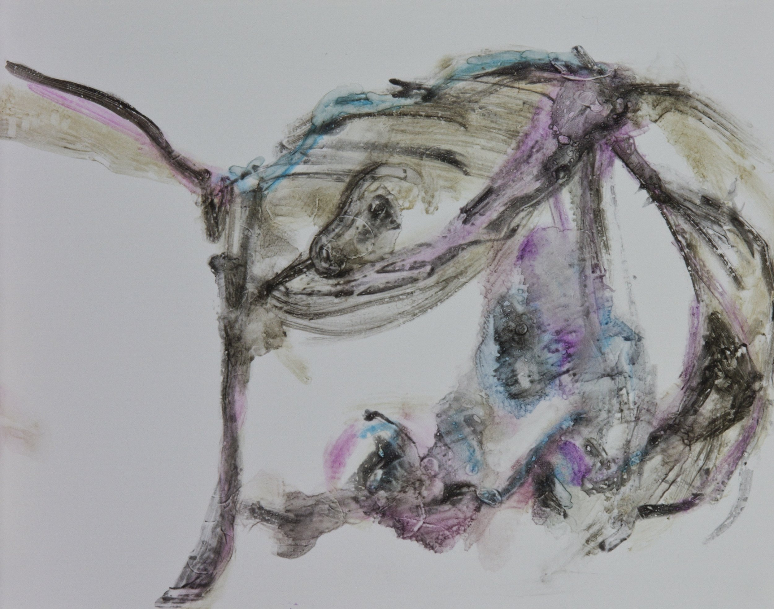 Acts 37, 2010, watercolor monotype on polypropylene, 11x14 inches