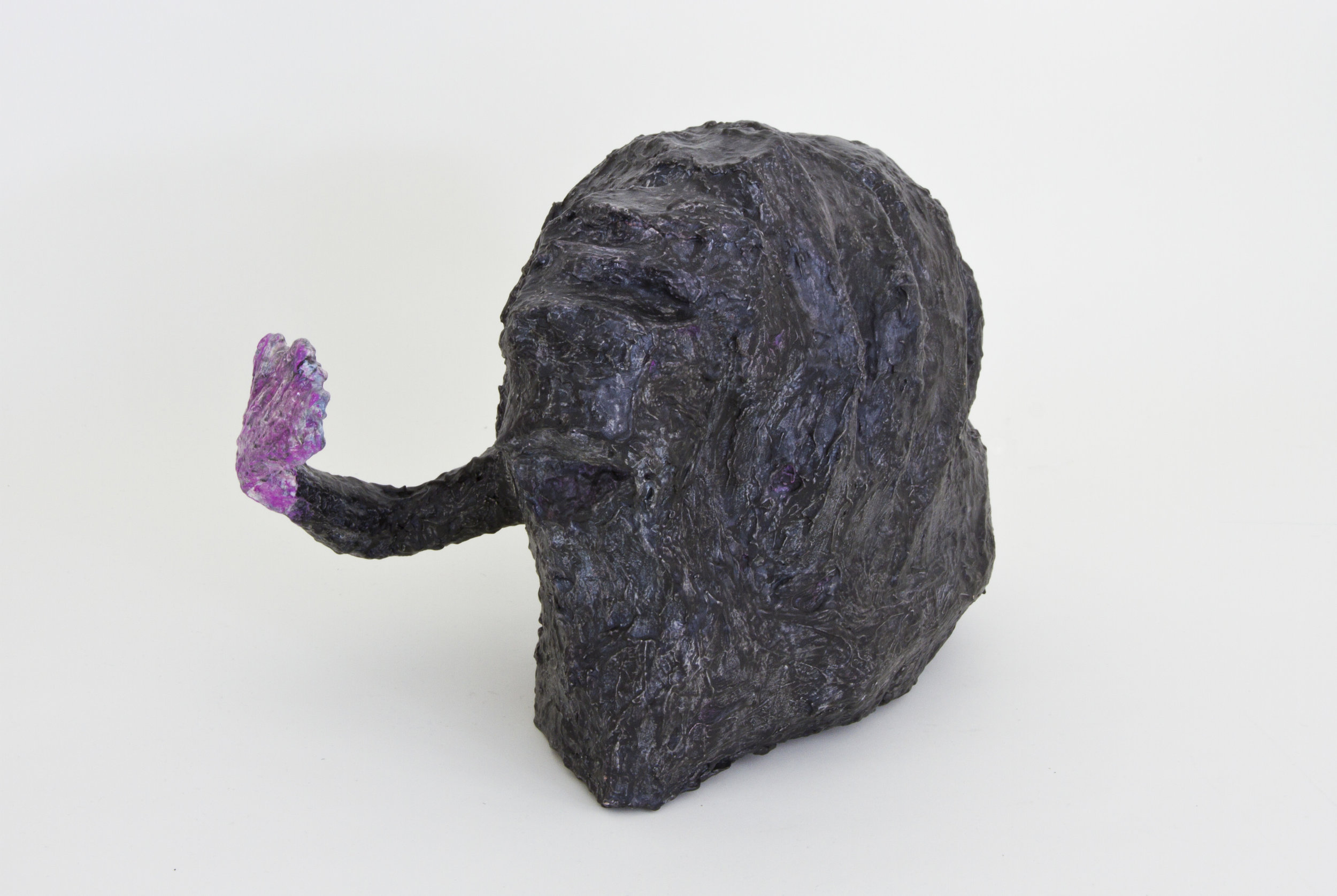 Black Mass and Arm, 2015, Plaster, Acrylic Paint, Mixed Materials, 16x16x19 inches