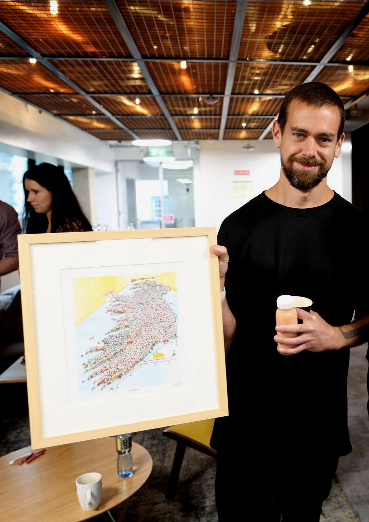 Jack Dorsey with his present @Twitter HQ