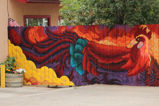 New mural at Gutiz Restaurant in El Prado. Stoked on my first rooster painting. Came out pretty good!