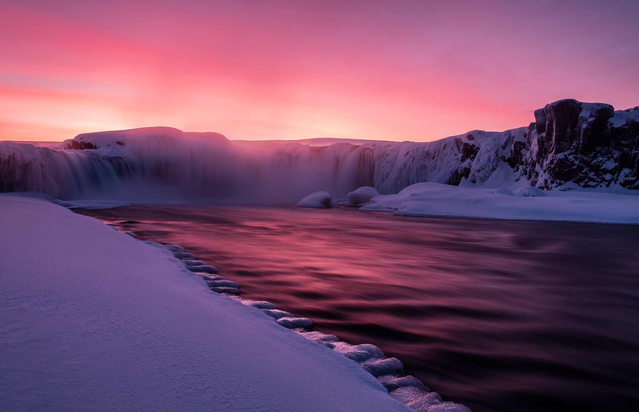 Goðafoss Winter Sunset