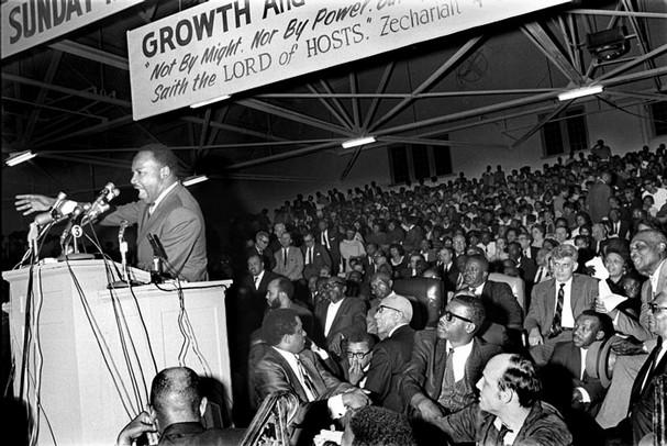 Dr. King speaking in Memphis in April, 1968.