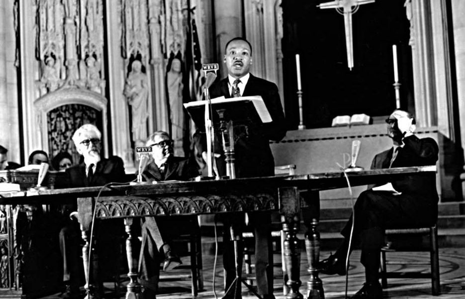 Rev. Dr. Martin Luther King, Jr. giving the Beyond Vietnam speech fifty years ago at Riverside Church in New York City.