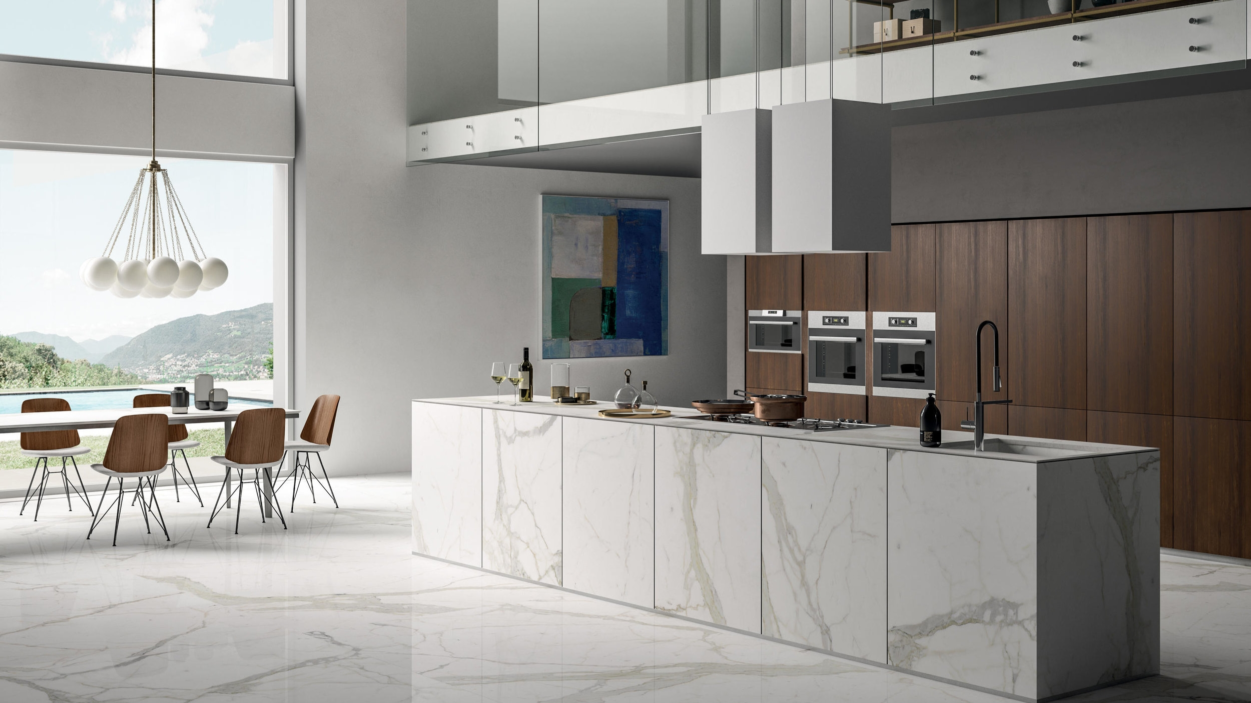"""SAPIENSTONE - IRIS technical ceramics goes into the kitchens of homes, bars, and restaurants with an unalterable, scratch-proof, easy to clean countertop. Presented in the """"Around the Top"""" European tour in 2017, SapienStone eliminates problems with hot dishes, chemicals, and scratches.< See More"""