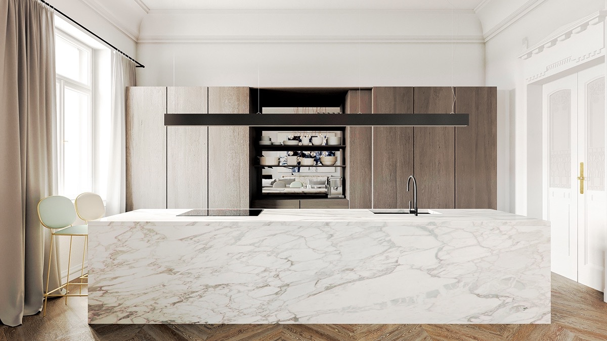 NATURAL STONE - Marble, Granite, Quartzite, Slate, Onyx are beautiful, natural materials that never seem to go out of style and goe with just about everything. Purely natural stone that comes directly from stone quarries and is then cut into thin slabs, polished, and fabricated into countertops.See More >