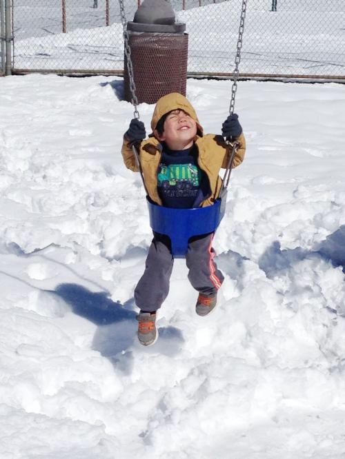 Swinging in the snow!