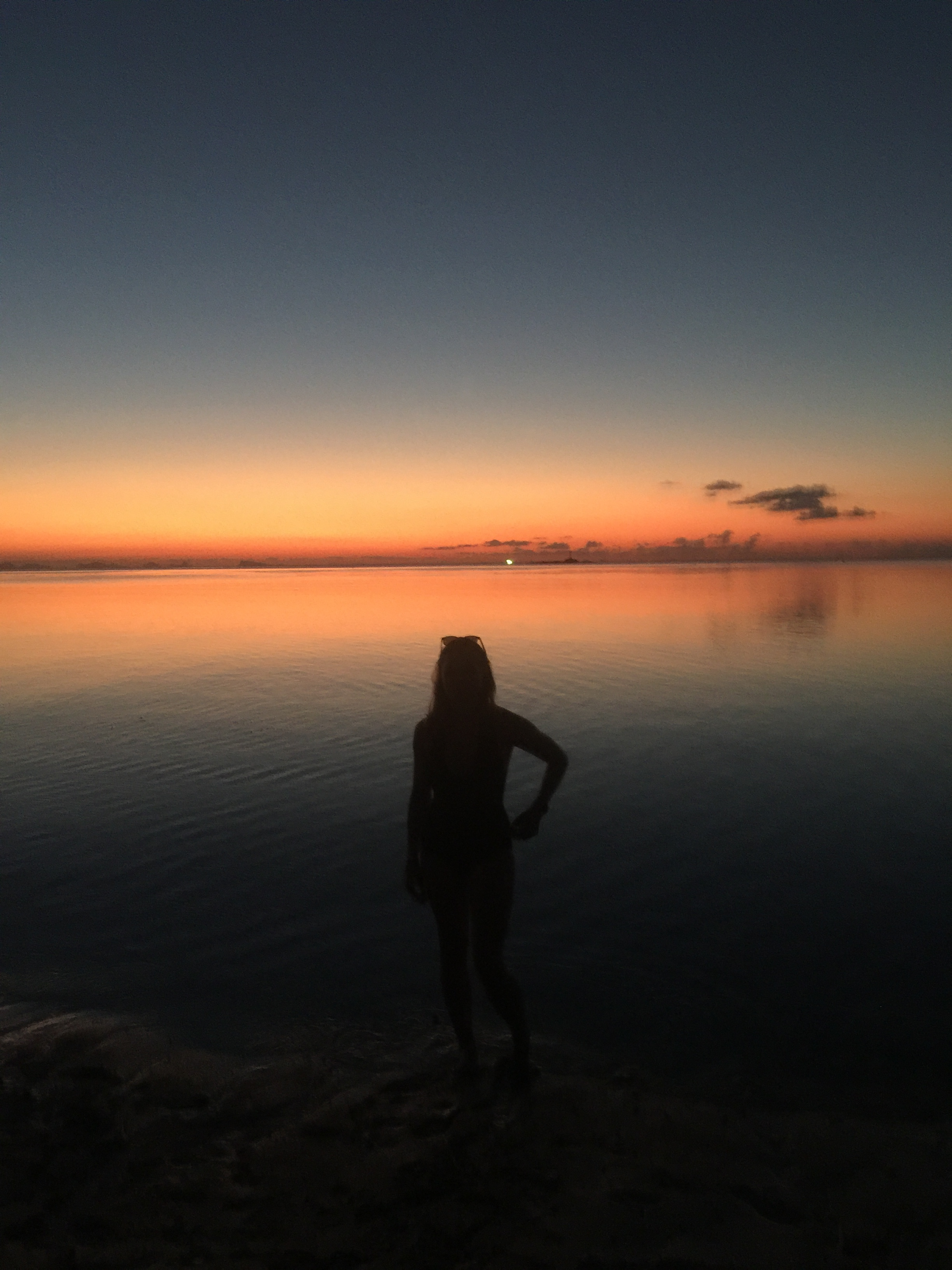 The sun setting on Zen Beach.