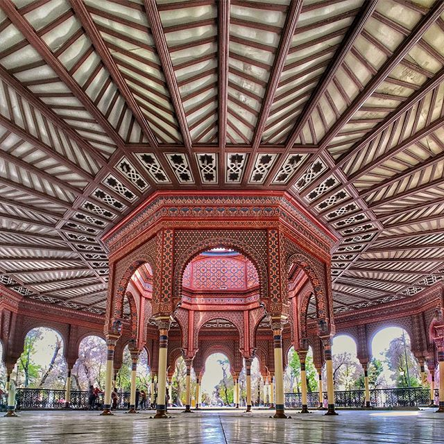 Designed for the 1884 World's Fair in St. Louis, Missouri, this Moor inspired Gazebo is the rendezvous point in the traditional neighborhood of Santa Maria La Rivera in Mexico City.