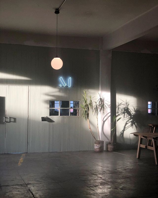 If only all of us could work in a beautiful environment making beautiful things.  «  #ifonly #bkDesigner  #beautifulthings #lametropolitana   #tsixto#officespace#officedesign#interior #sodomino #workspace#interiorstyling#styling#palmtree#palm #thesill #mydomain#neonlight #shadows #window #cdmxworkspace #DF
