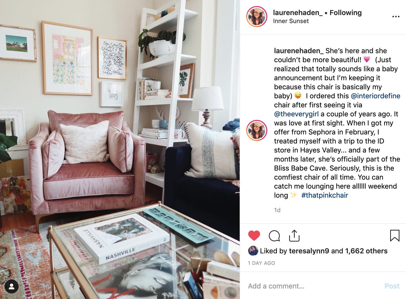 that pink chair instagram