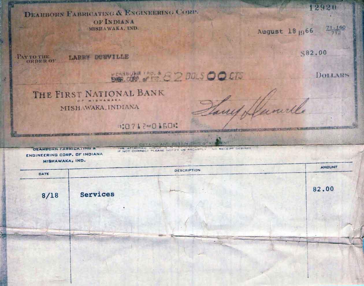 Larry Dunville, 1st Dearborn Crane paycheck, August 18, 1966, $82.00