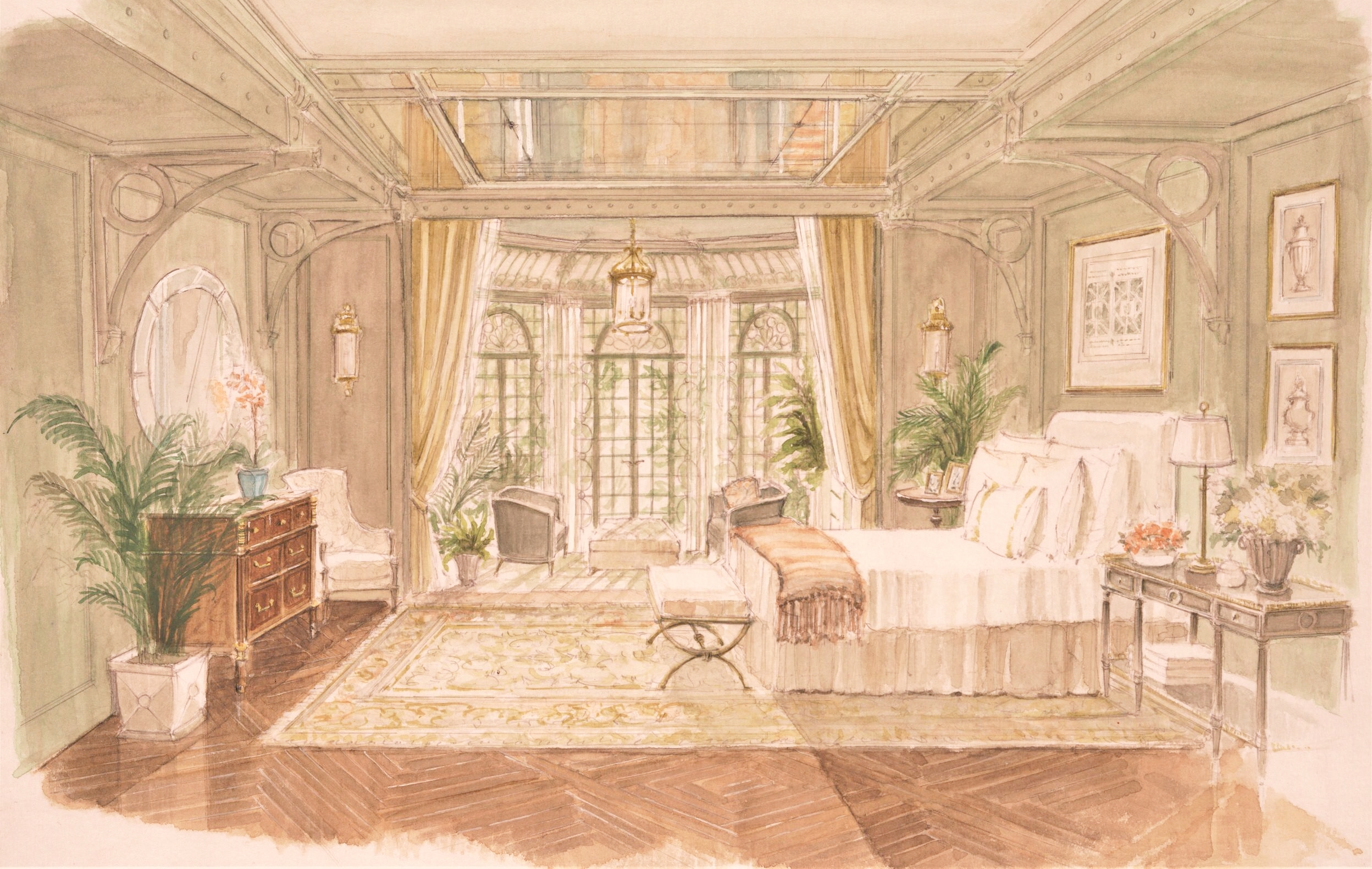 The conservatory greenhouse of a Back Bay mansion re-envisioned as a bedroom with antique French garden plans, a soft, creamy oushak and lush sitting room