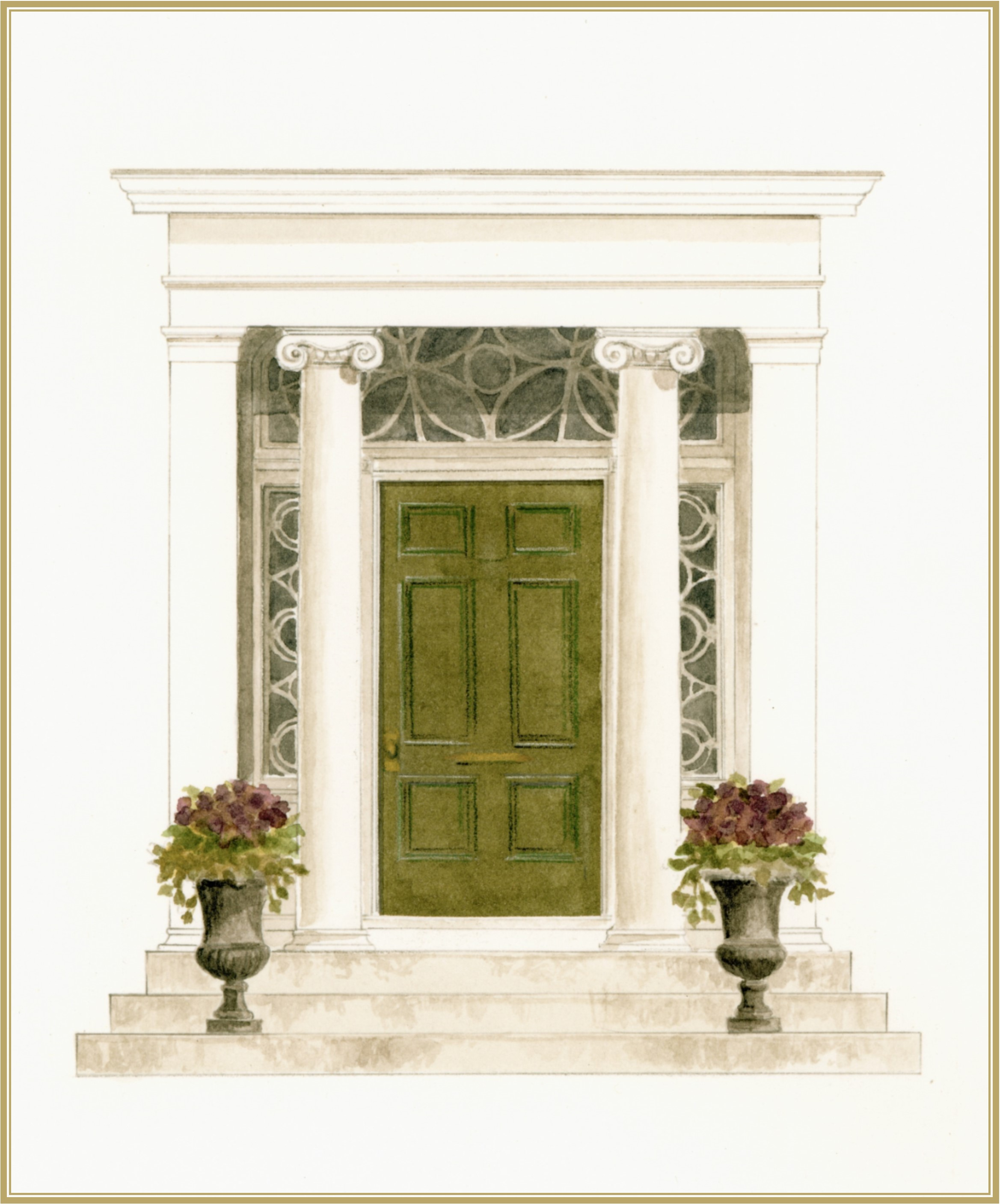 Elegant entryway of an historical Beacon Hill property, rendered in pencil and watercolor for marketing collateral