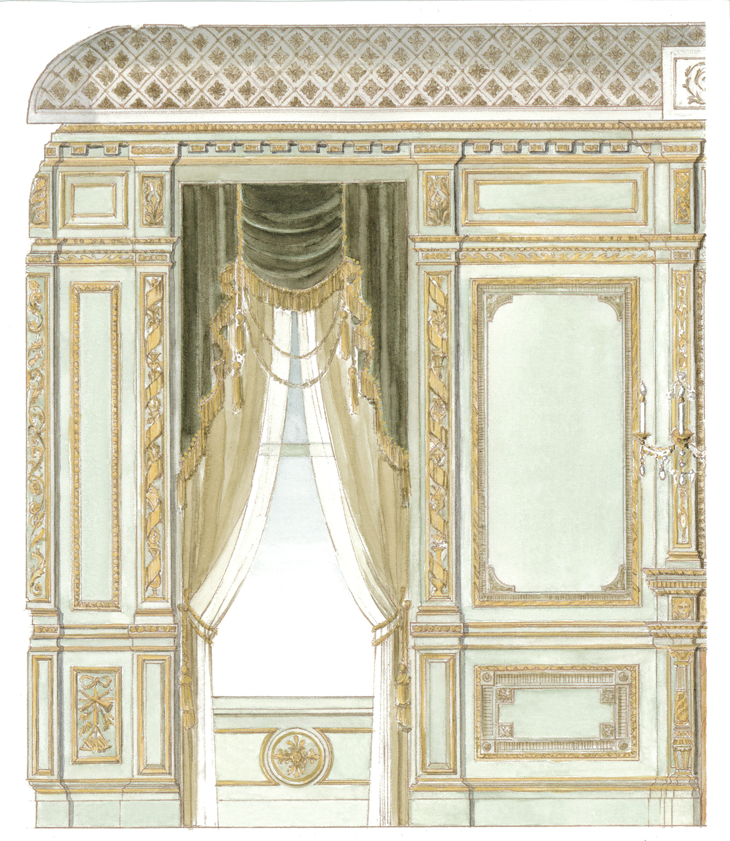 Excerpted from a measured drawing, a watercolor of the 1880's  Music Room, Ames Mansion, Boston