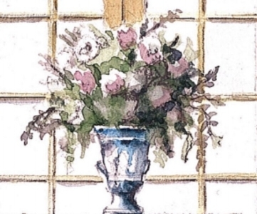 Lush lilacs and peonies create an extravagant bouquet for an interior study