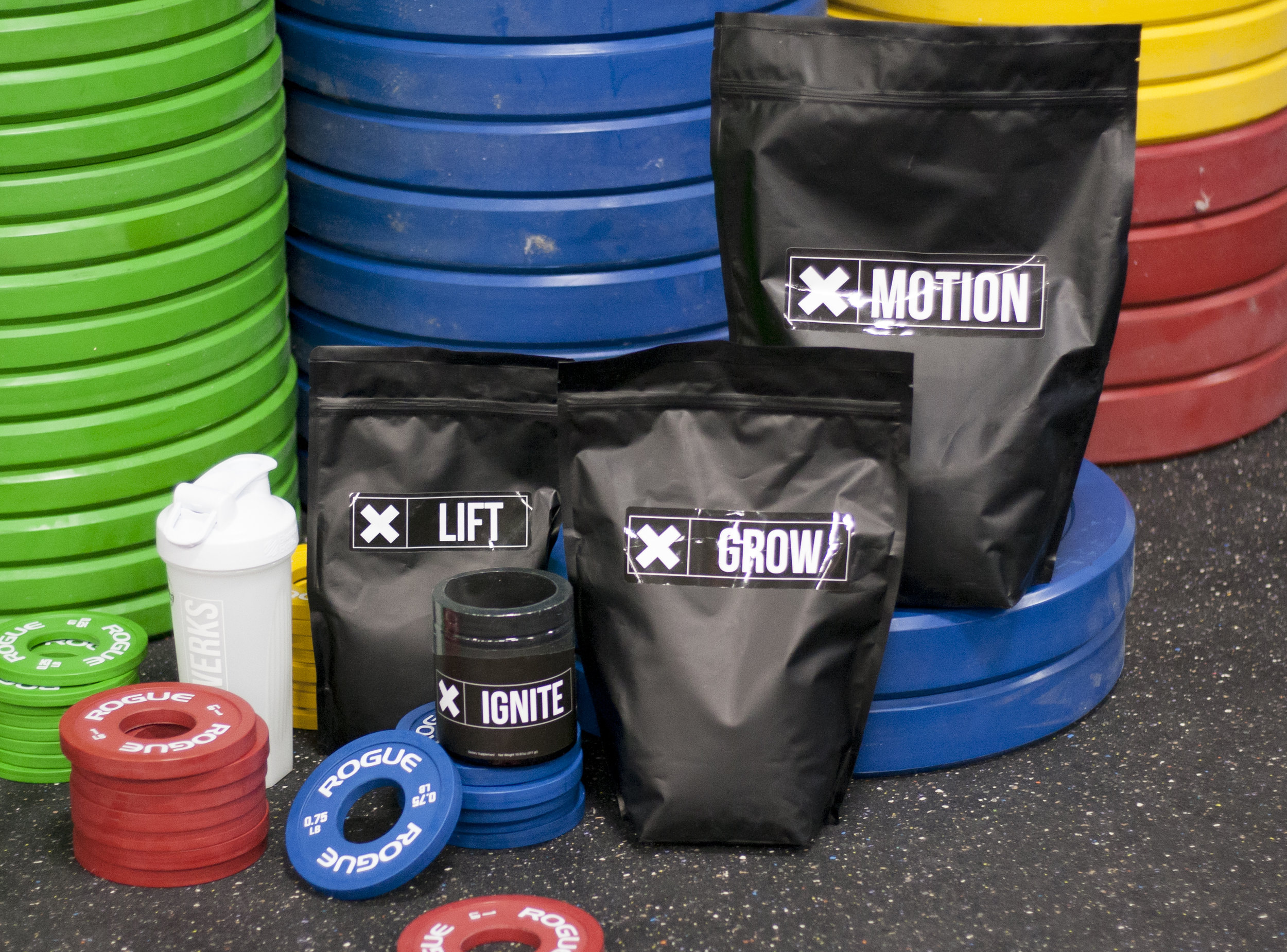 XWERKS - MOTION (CARBS, BCAAS, AND ELECTROLYTES): GRAPE AND RASPBERRY LEMONADEGROW (WHEY PROTEIN): CHOCOLATE, VANILLA, AND PEANUT BUTTERIGNITE (PRE-WORKOUT): GREEN APPLE, BLUE RAZZ, AND ORANGELIFT (CREATINE): UNFLAVORED