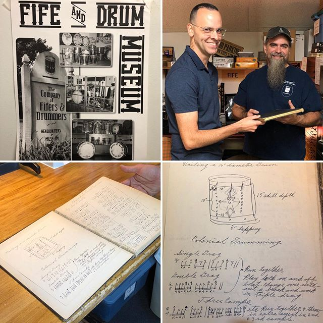 #sharethetradition 🥁 thanks to Matt Alling for another great visit to @companyoffifersanddrummers plus the up-close look at first editions of Moeller and Pratt books 😀 ... .. . #rudimentaldrumming #ropedrum #ropetensiondrum #fifeanddrum #oldschooldrums #snare #snaredrum #drums #drummer #drumming #drumlife #percussion #percussionist #percussionlife #easternpercussionstudio #musicprofessor #musicteacher #musicteacherlife #musician #musicianlife #musicianofinstagram #musiciansofinstagram