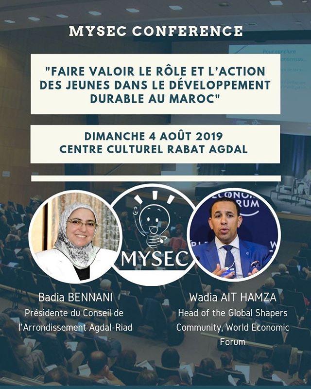 Le dimanche 4 août 2019 aura lieu notre conférence au Centre Culturel Agdal Rabat sous le thème : « Faire valoir le rôle et l'action des jeunes dans le développement durable au Maroc ». Un lien sera partagé demain pour s'inscrire et assister à la conférence. Seules les personnes qui auront fait une réservation auront le droit d'assister à la conférence.